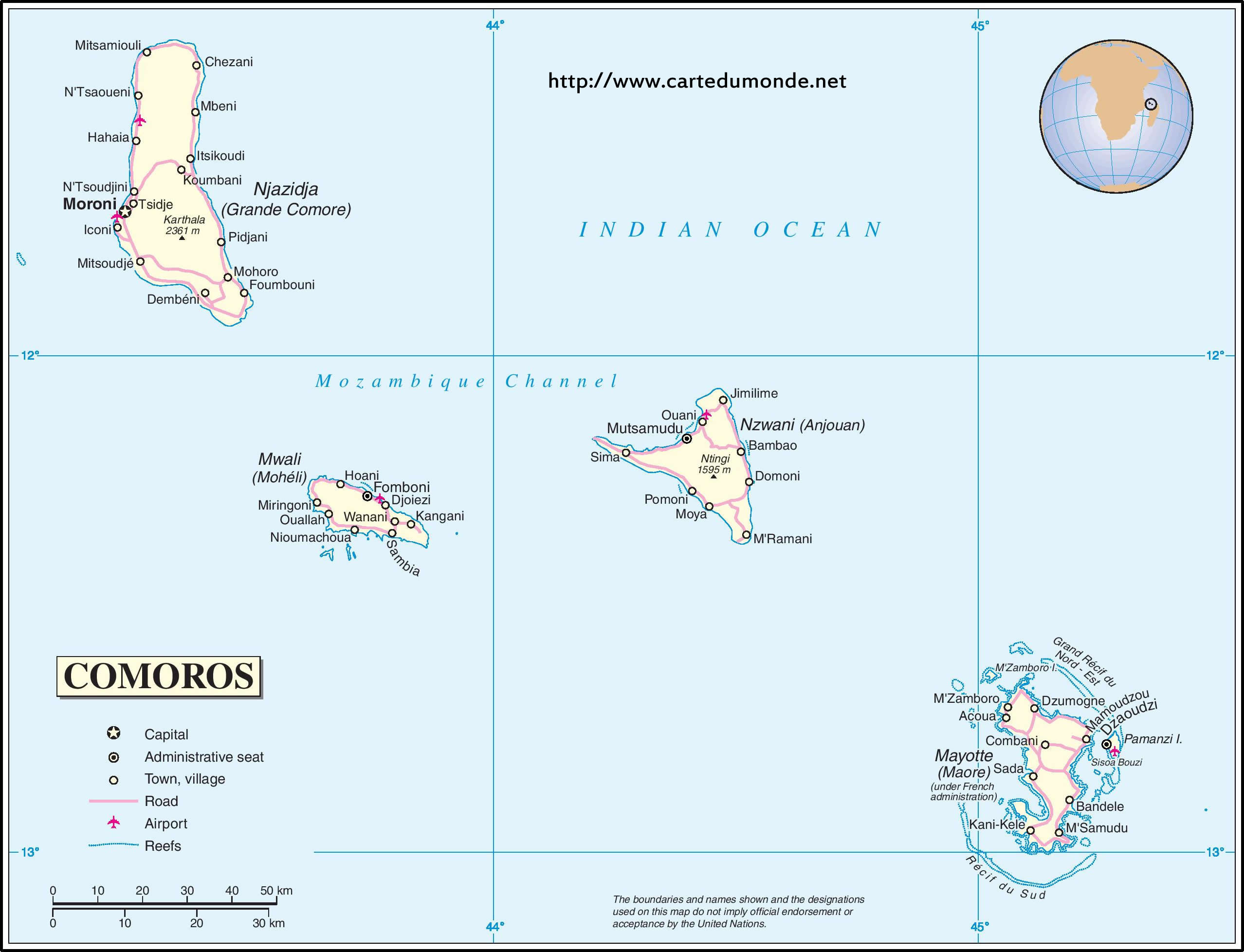 print the map comoros