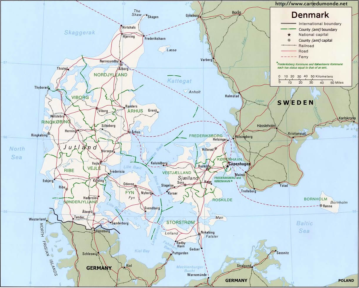 Map Denmark, Country Map Denmark on