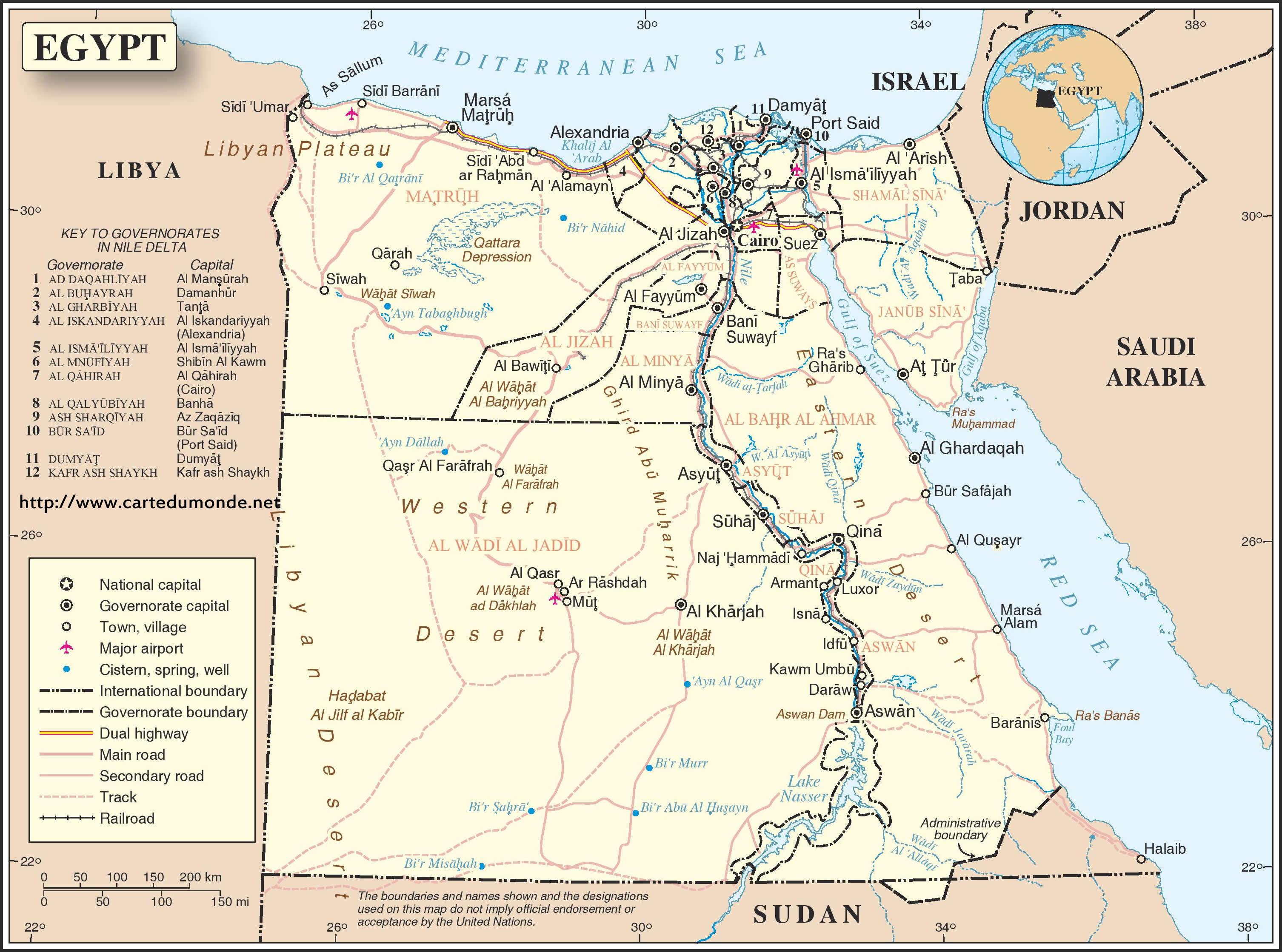 Grande carte Égypte