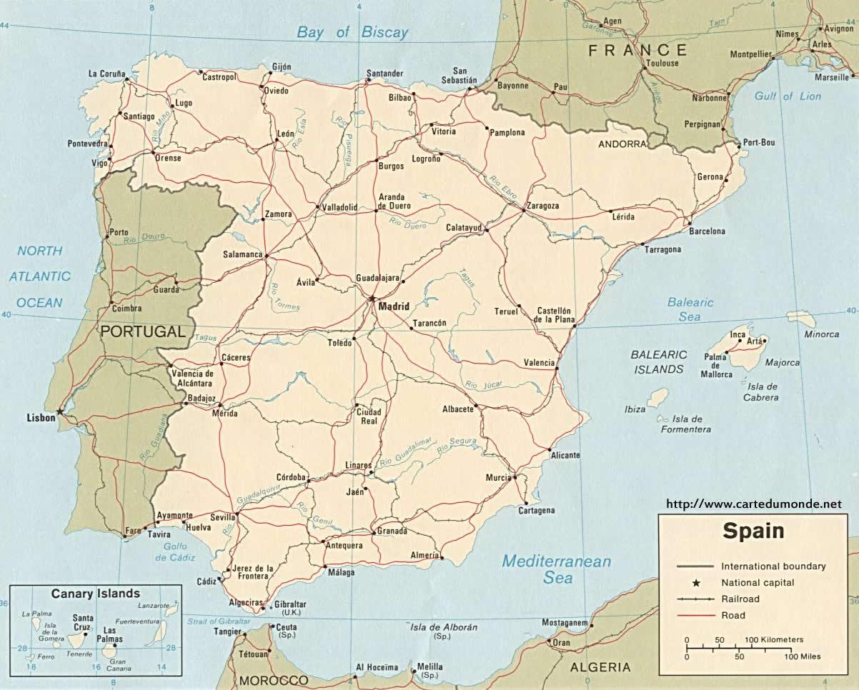 Grande carte Espagne