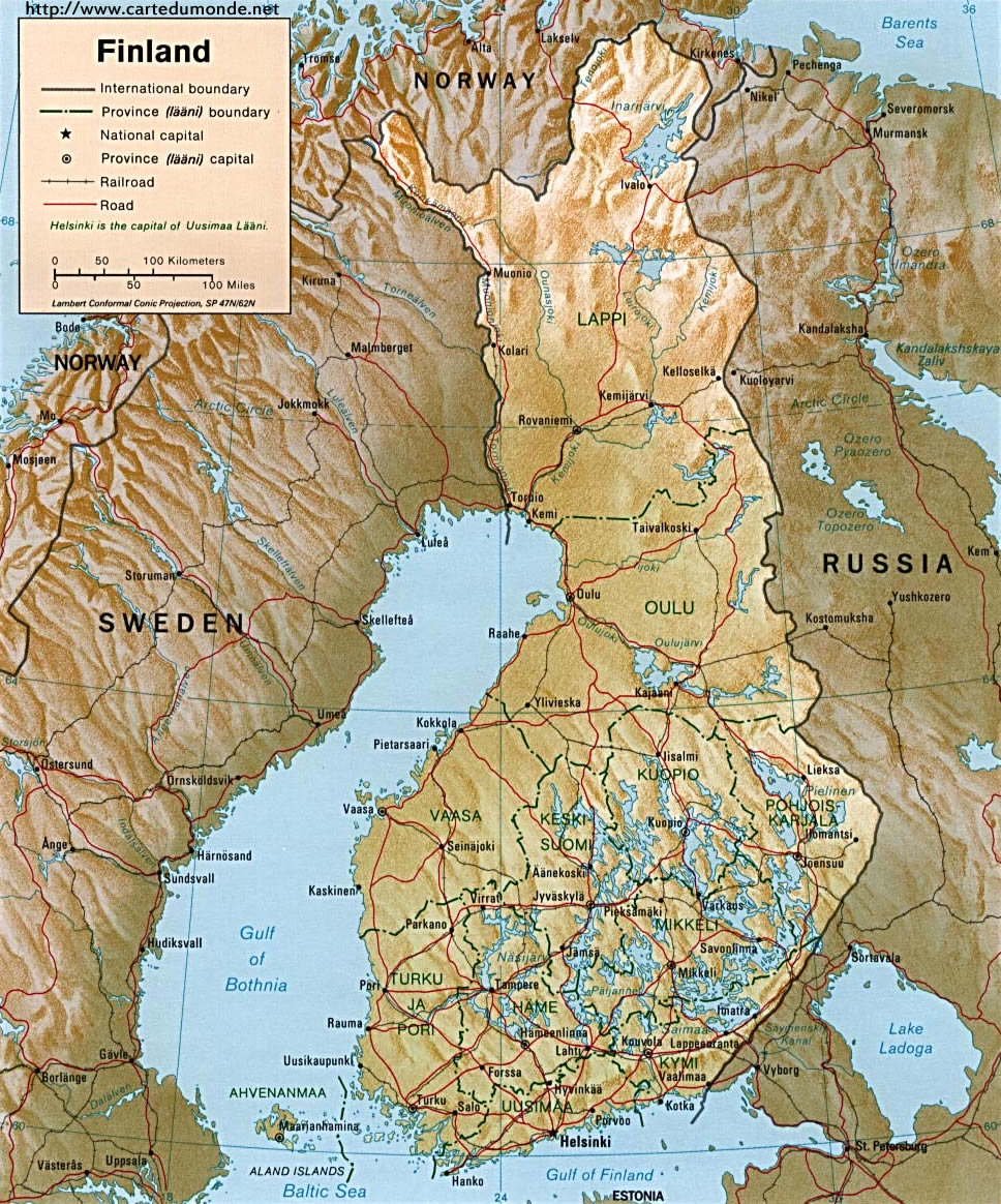 Larger map Finland