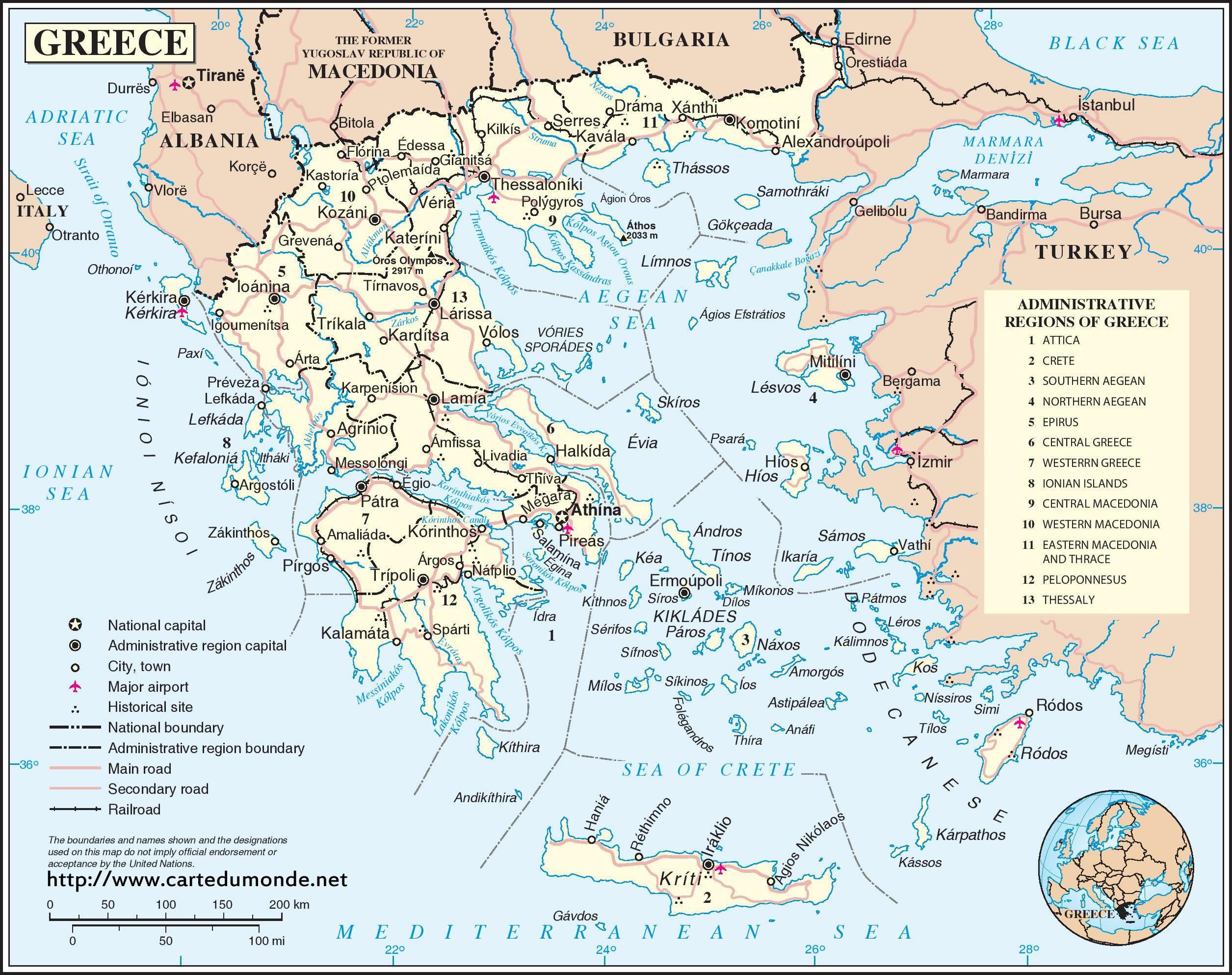 Carte Grèce, Carte pays Grèce