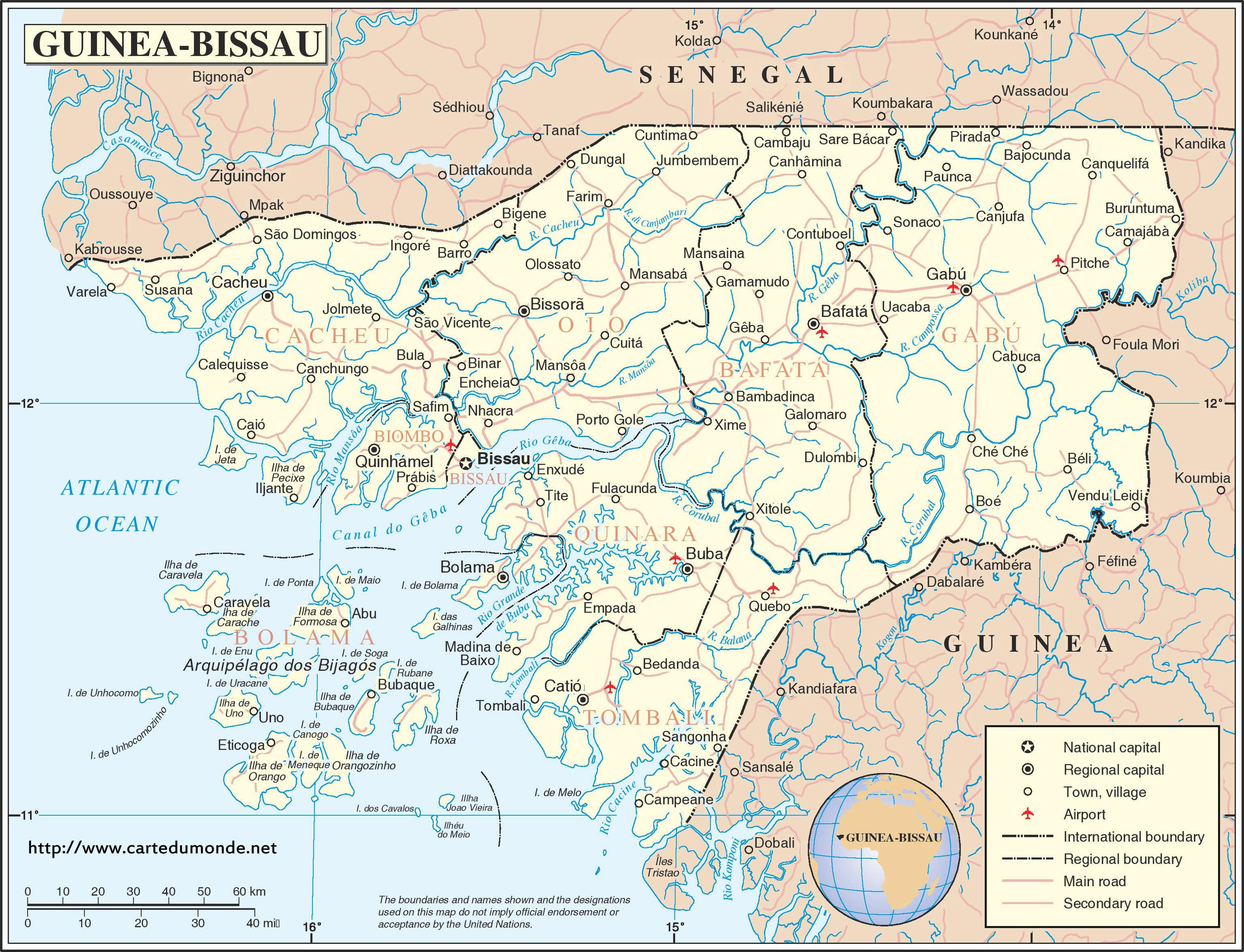 Map GuineaBissau Country Map GuineaBissau - Guinea bissau map