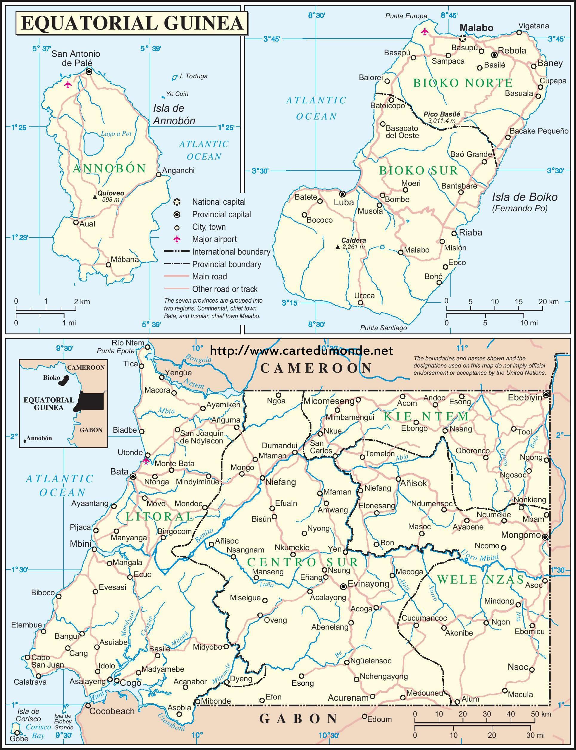Grande carte Guinée Équatoriale