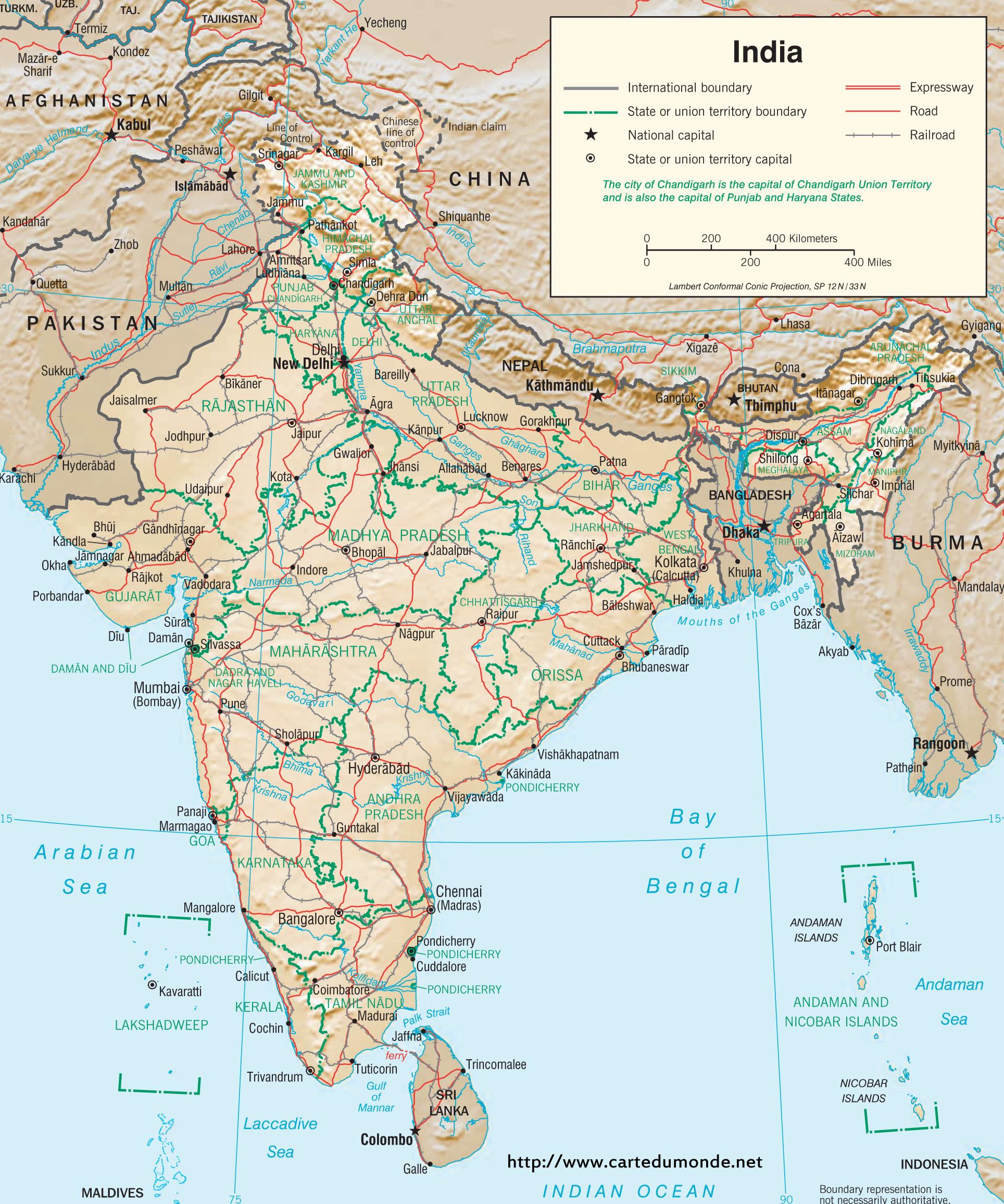 Carte Inde A Imprimer.Grande Carte Inde Sur Carte Du Monde