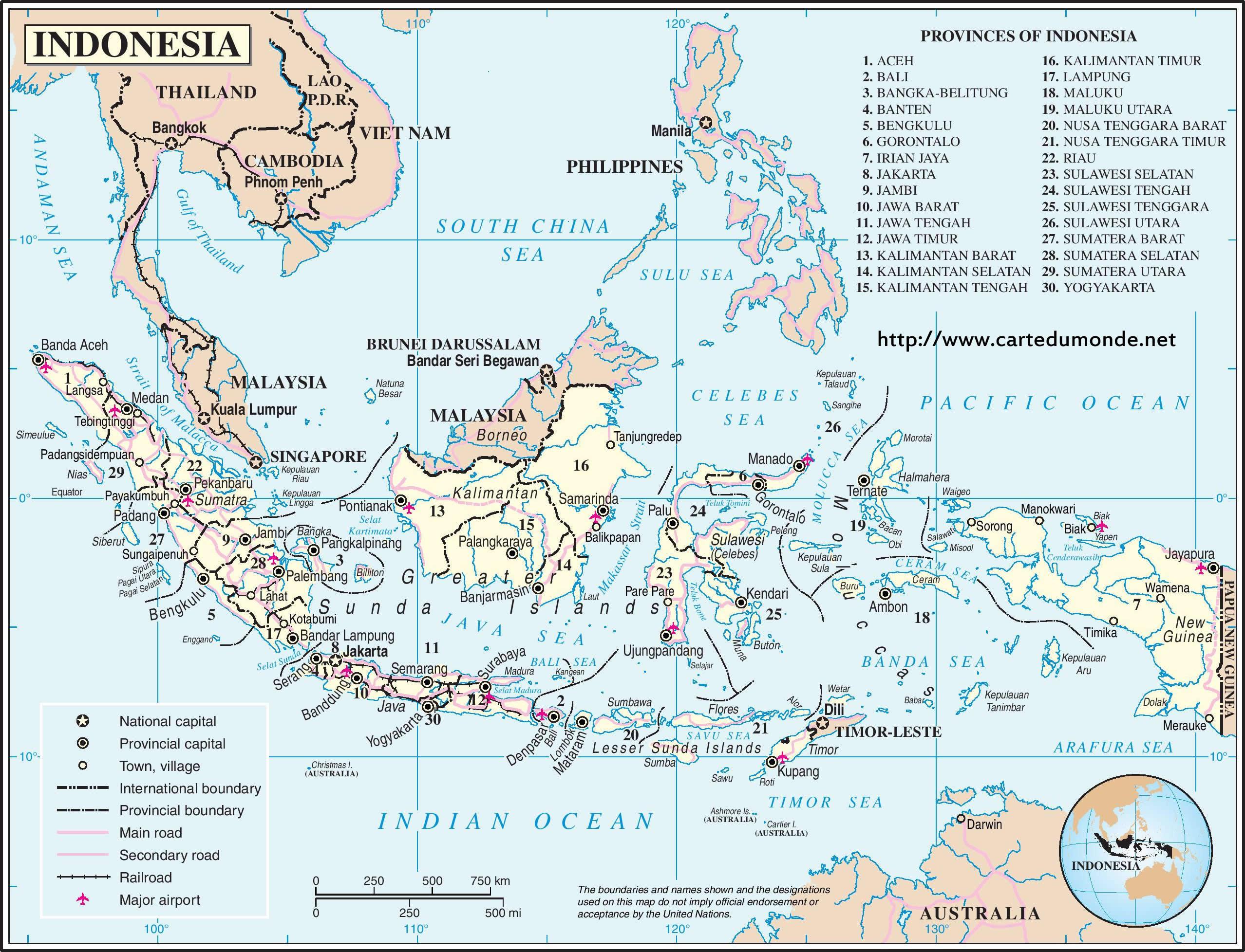 Mapa Indonesia Mapa de Estados Indonesia