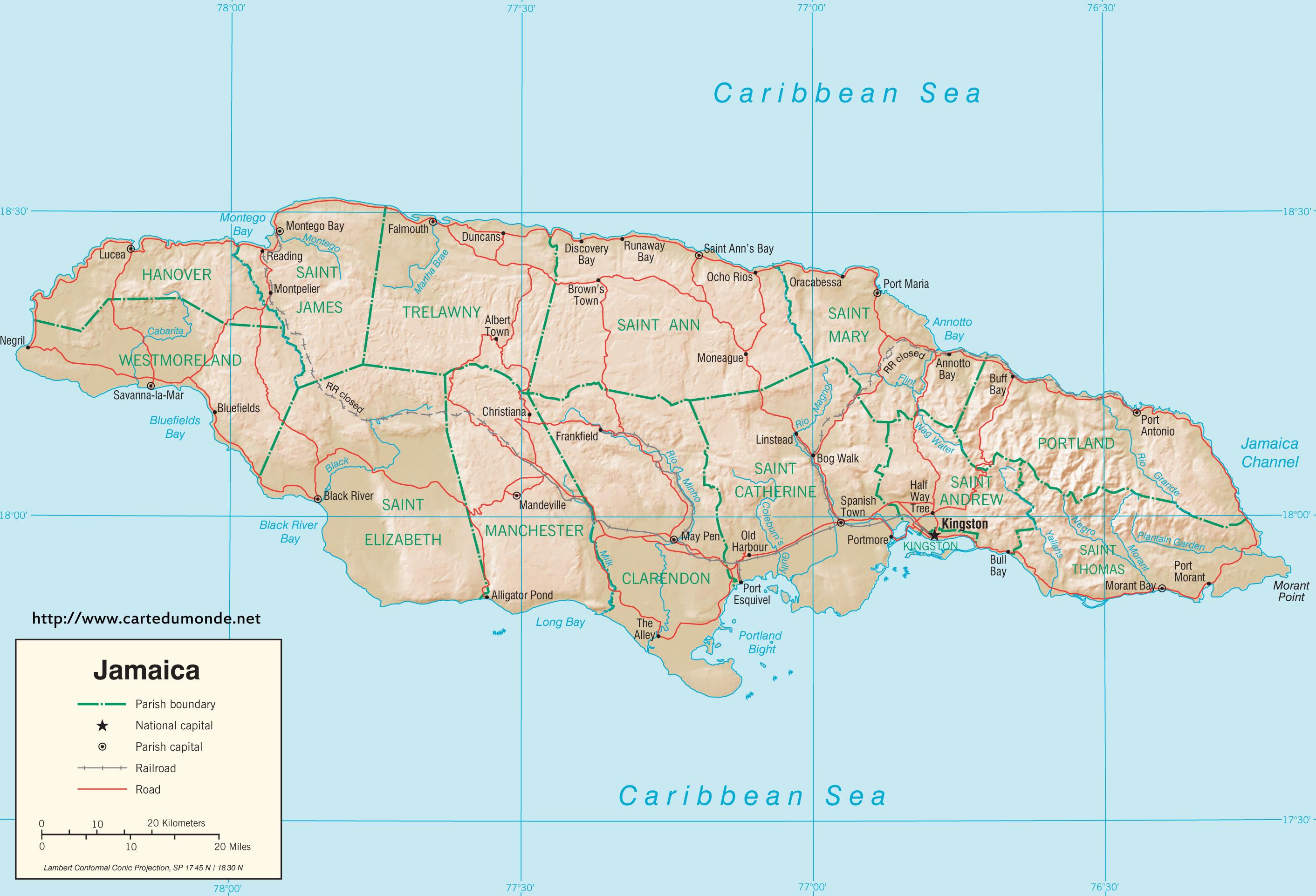 Larger map Jamaica