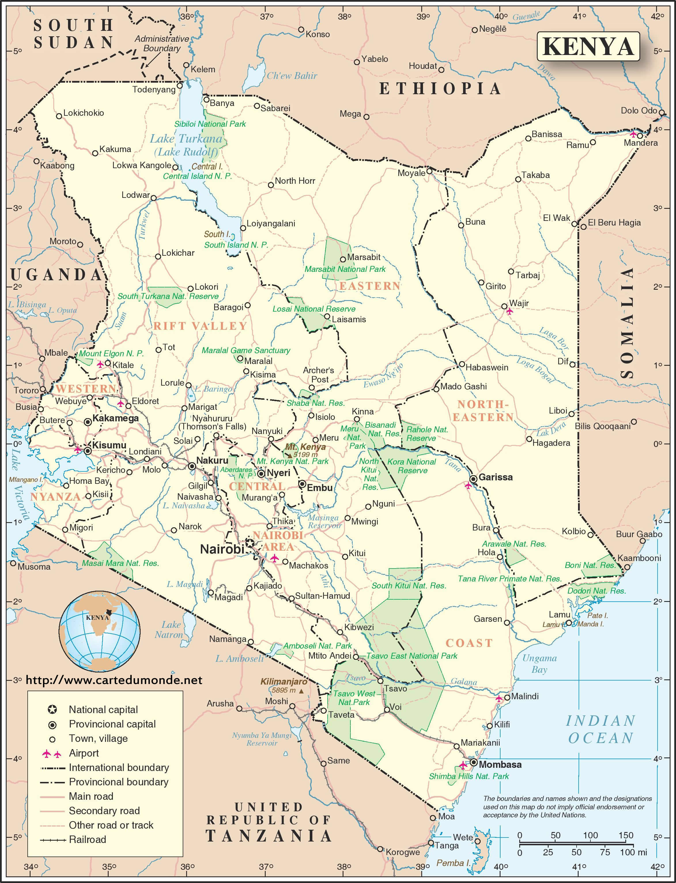 Map kenya country map kenya print the map kenya gumiabroncs Choice Image