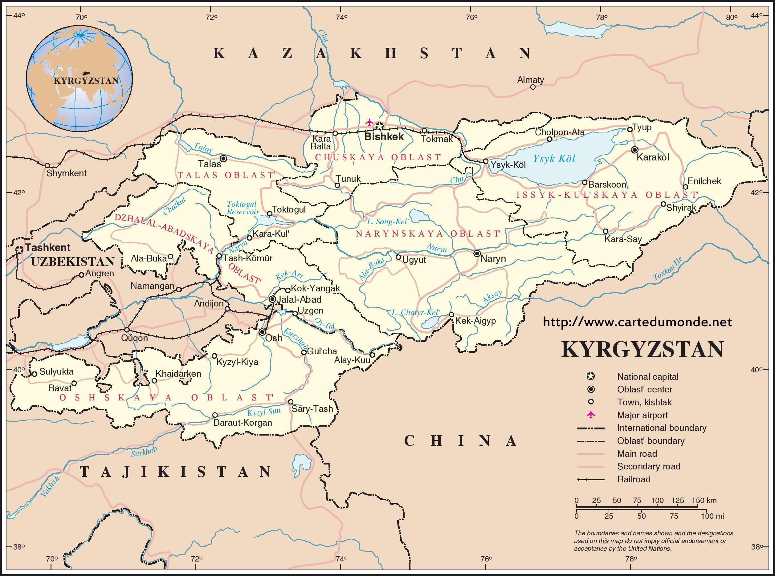 Map Kyrgyzstan Country Map Kyrgyzstan