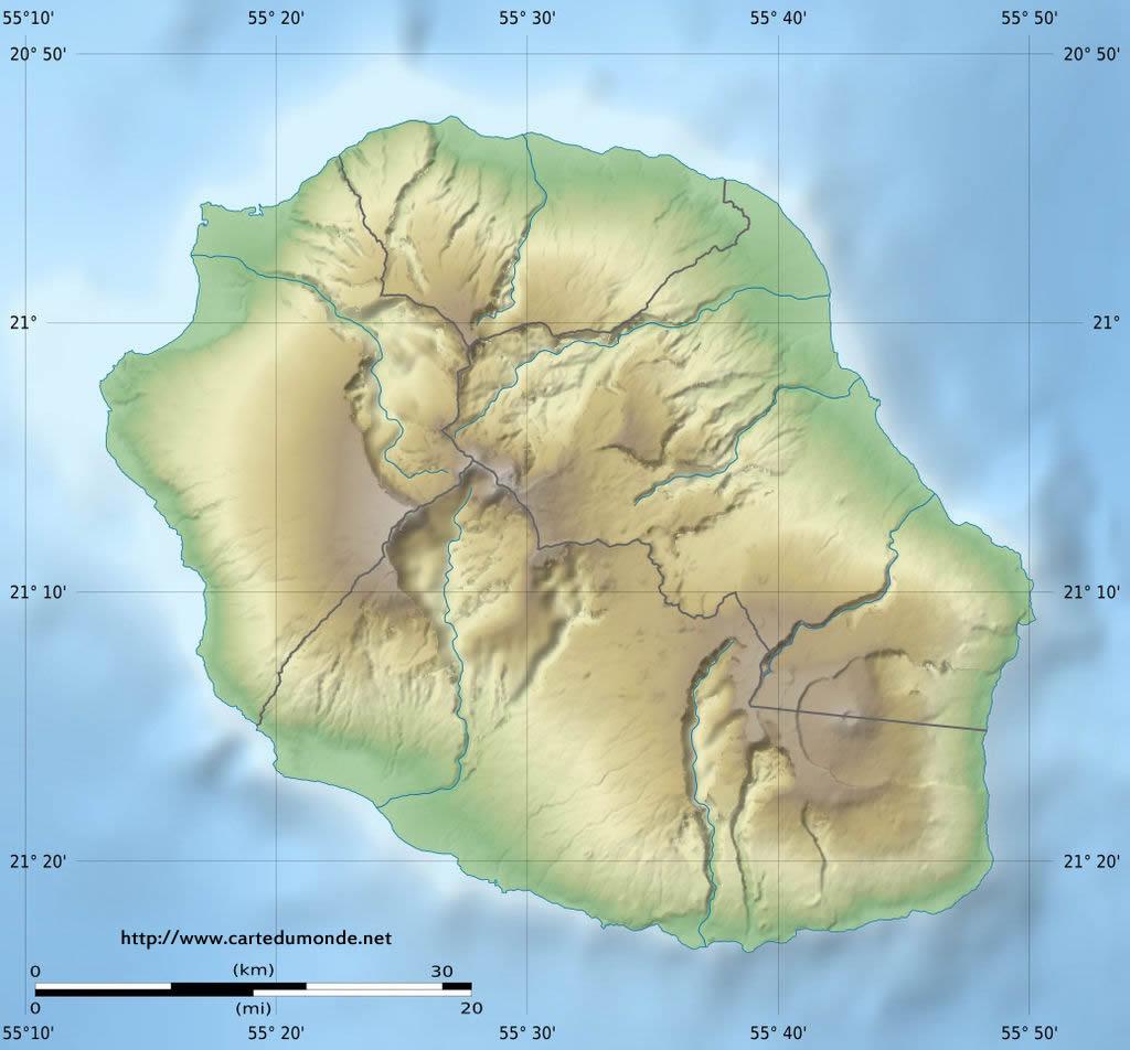 Grande carte La Réunion