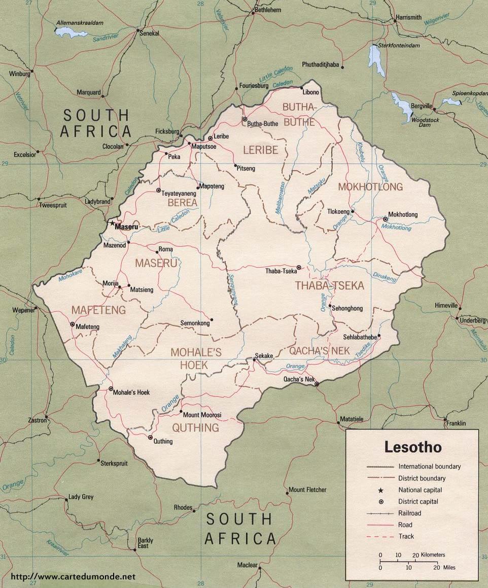 Larger map Lesotho