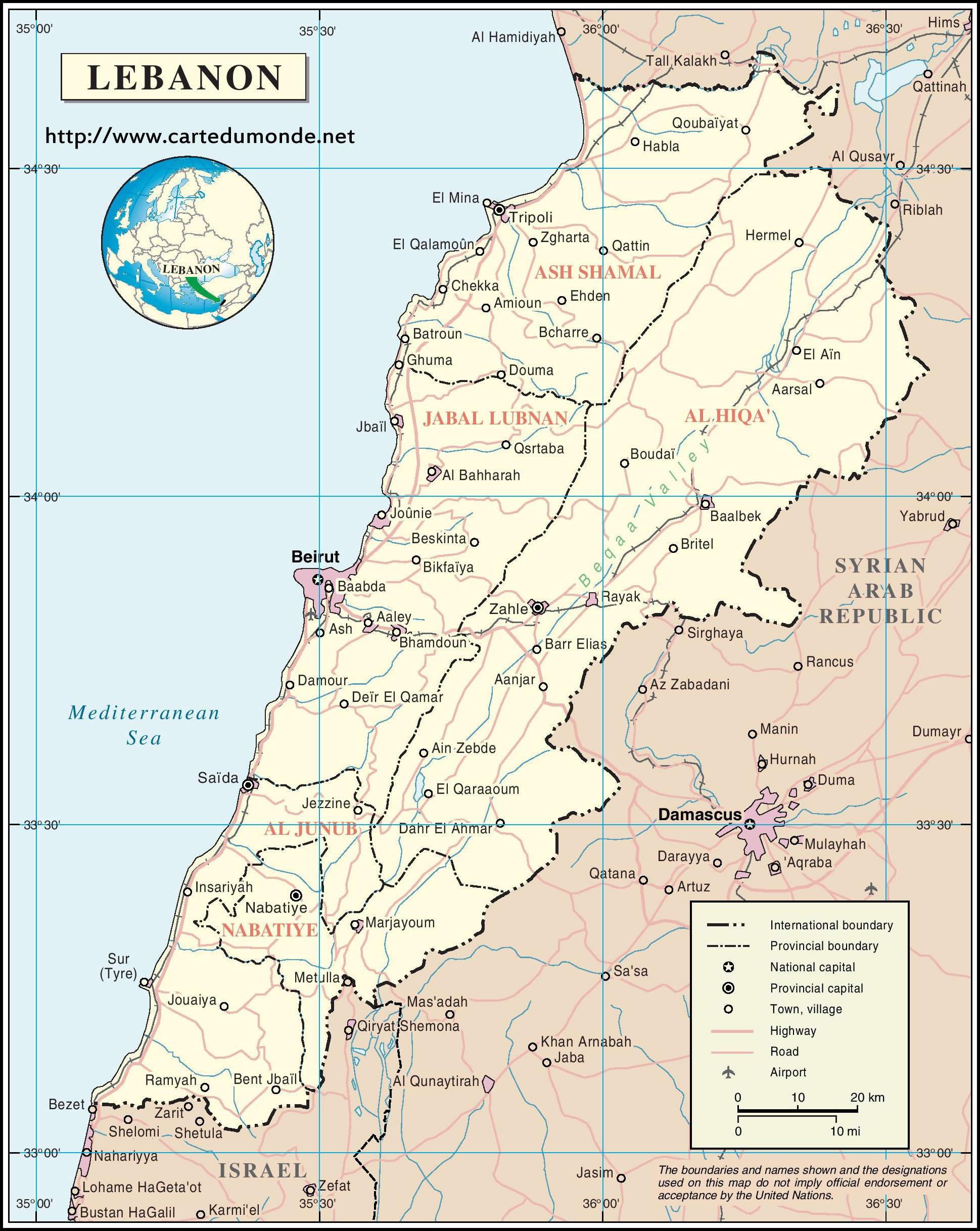 R Map Lebanon On World Map