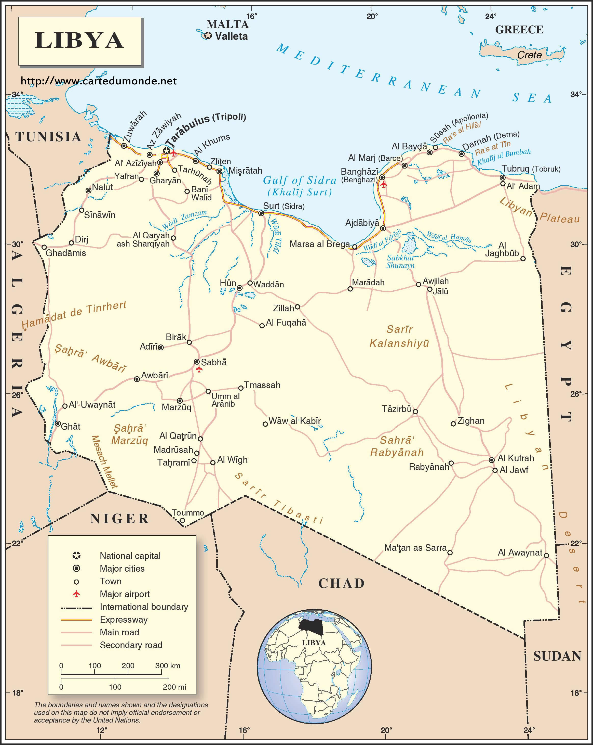 Map libya country map libya print the map libya gumiabroncs Gallery
