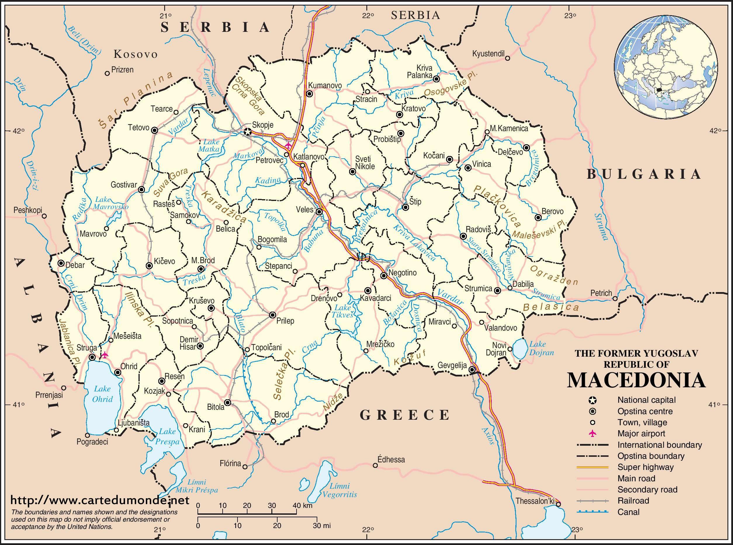 Karte Mazedonien Karte Auf Land Mazedonien