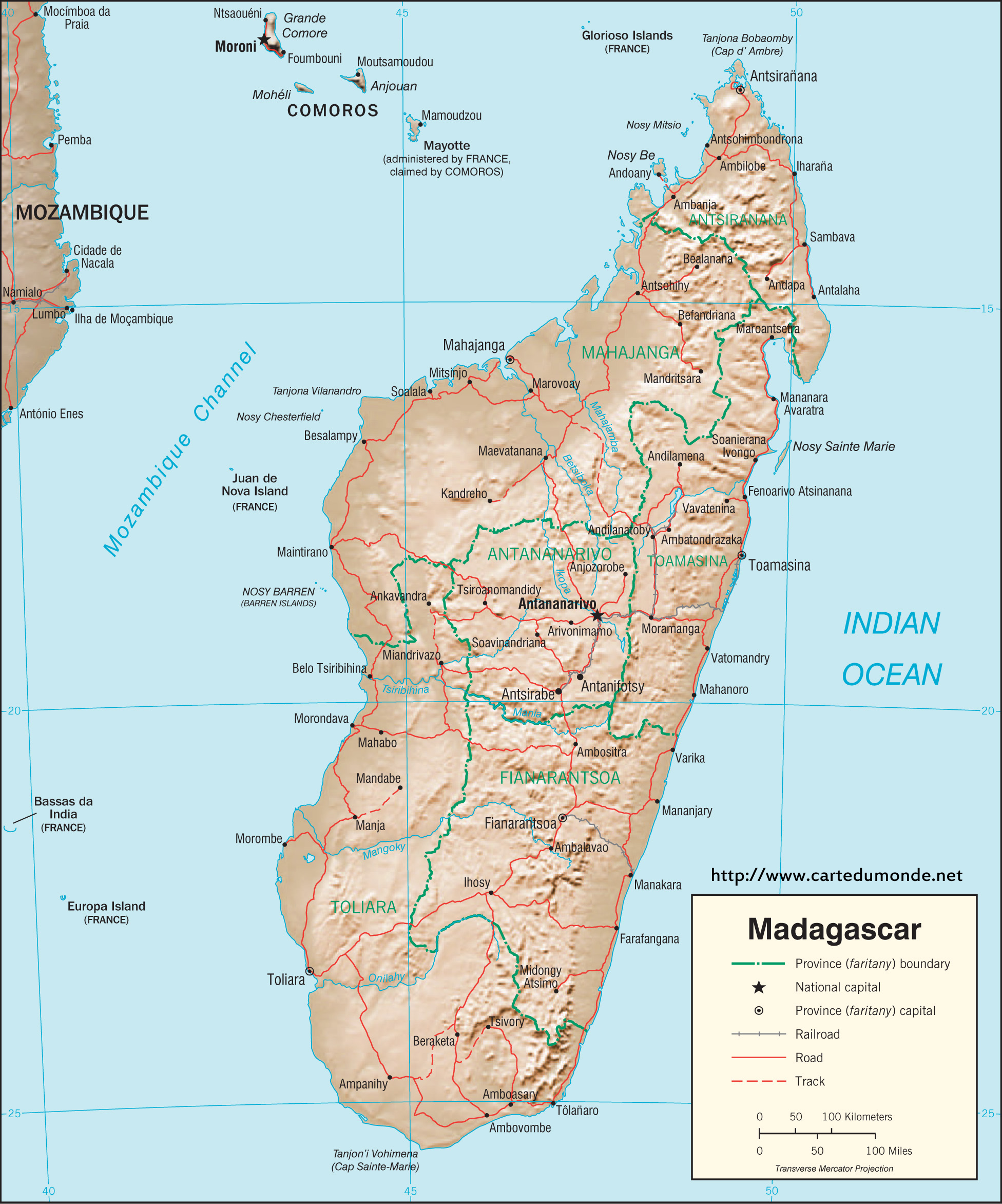 Larger map Madagascar on World Map