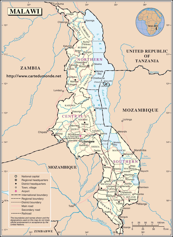 Grande carte Malawi