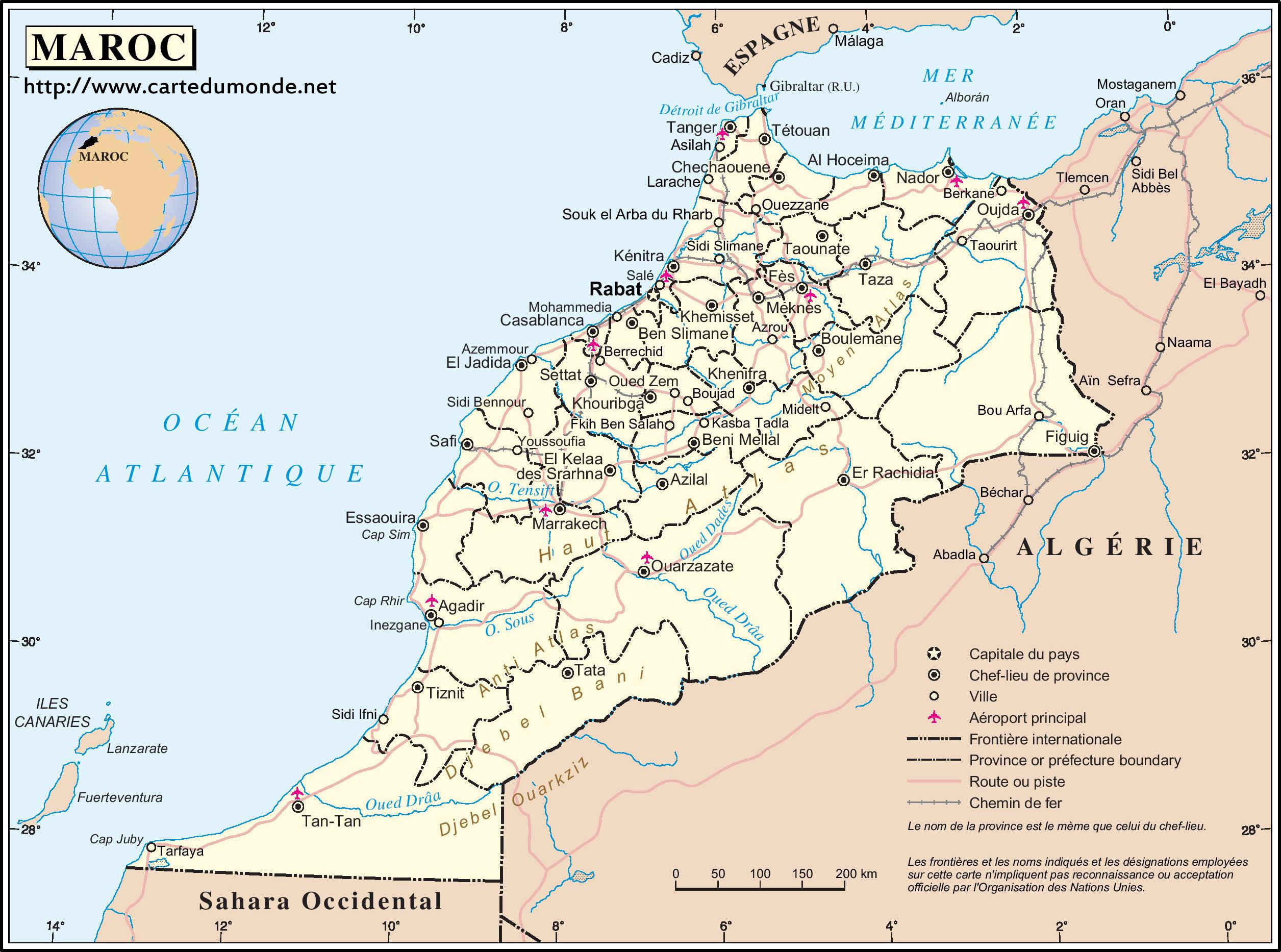 carte du maroc à imprimer Grande carte Maroc sur Carte du monde