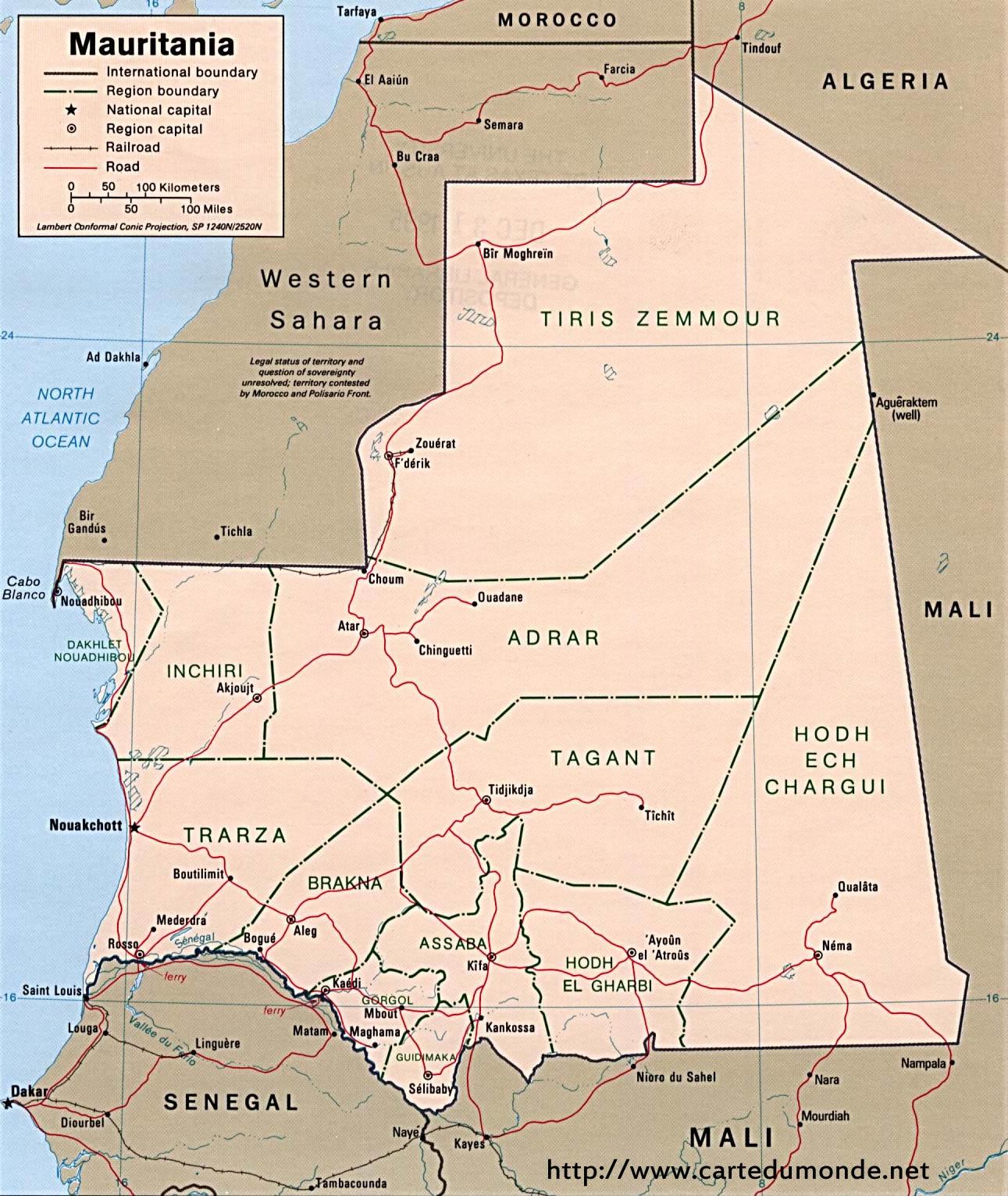 Larger map Mauritania