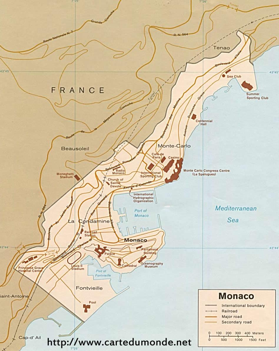 Larger Map Monaco On World Map