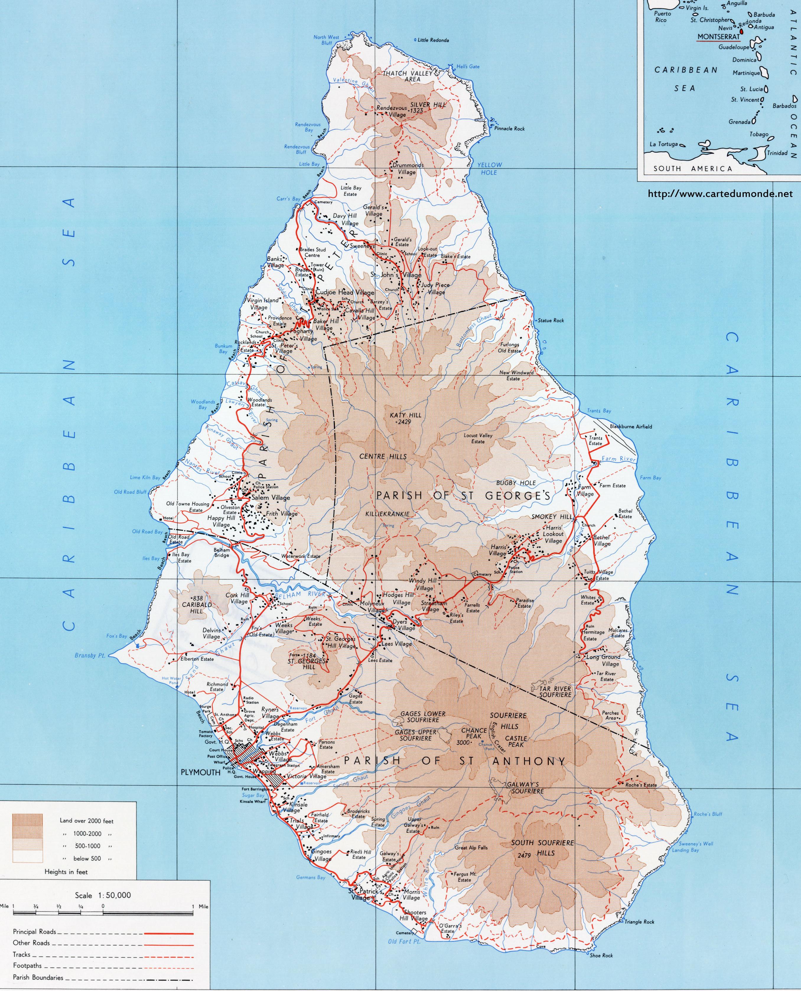 Duży mapa Montserrat