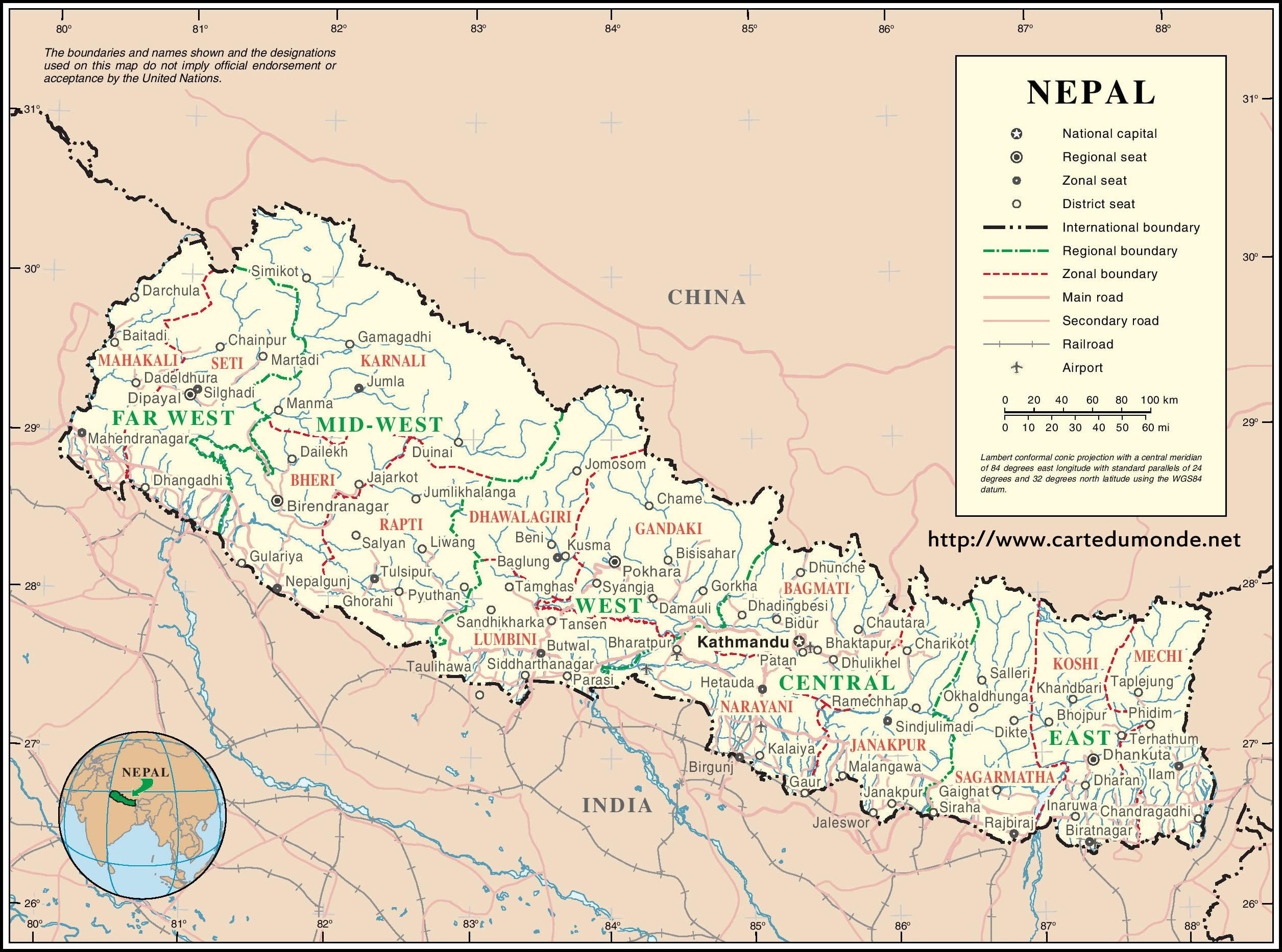 Larger map nepal on world map print the map nepal gumiabroncs Image collections