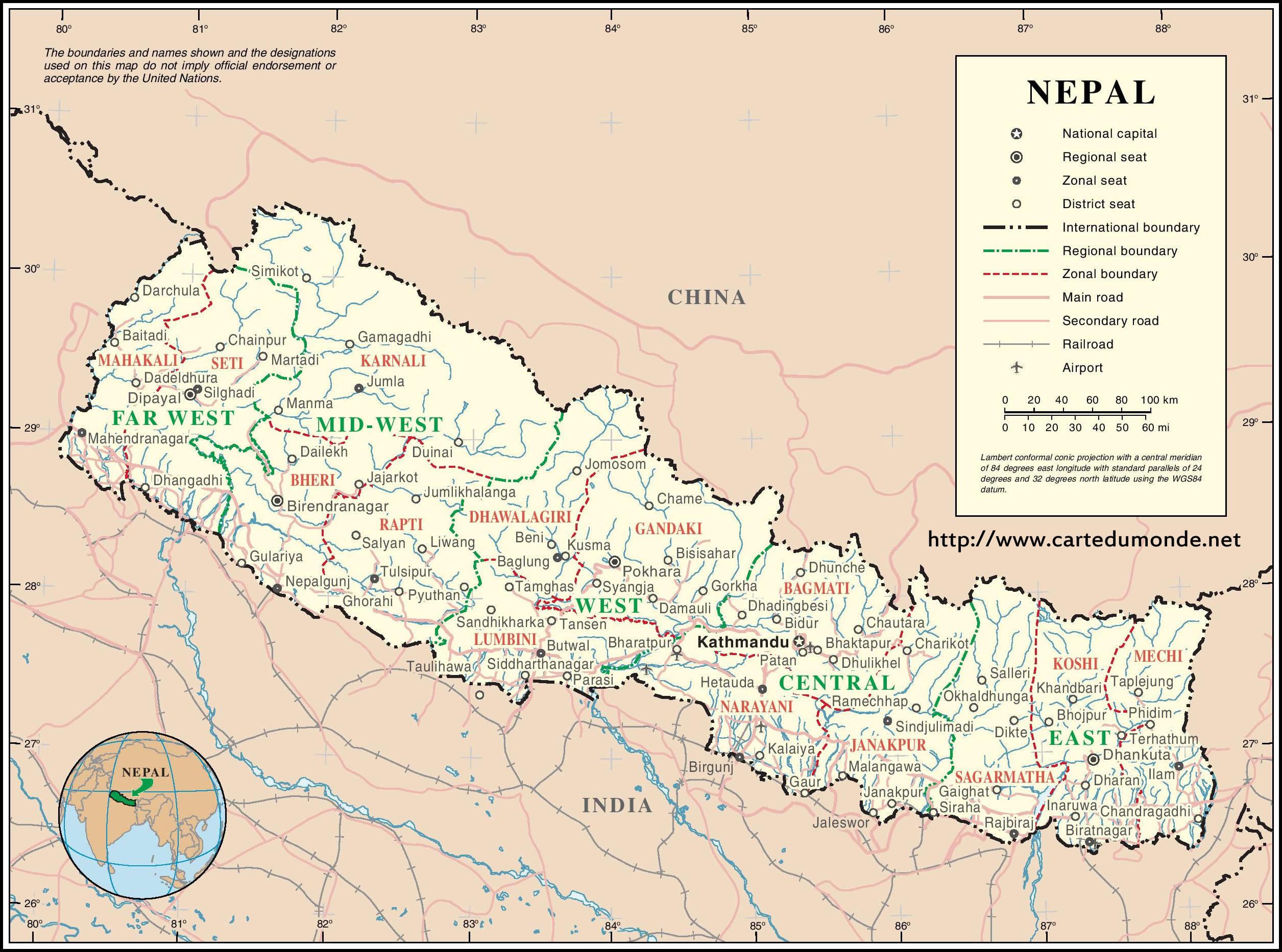 Agrandar el mapa Nepal en el mapa mundial