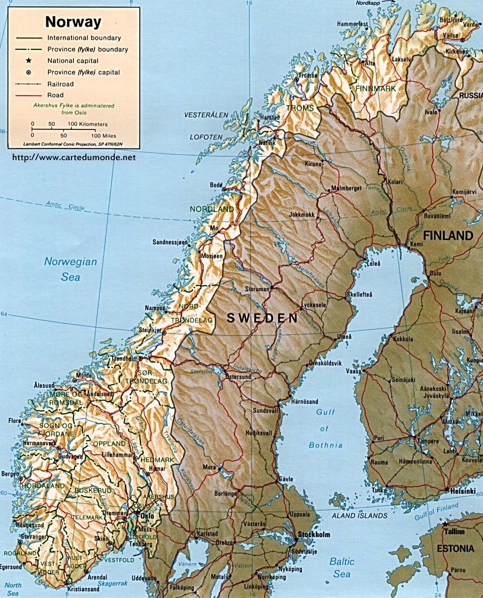 Mapa Norwegia Kraj Mapa Norwegia