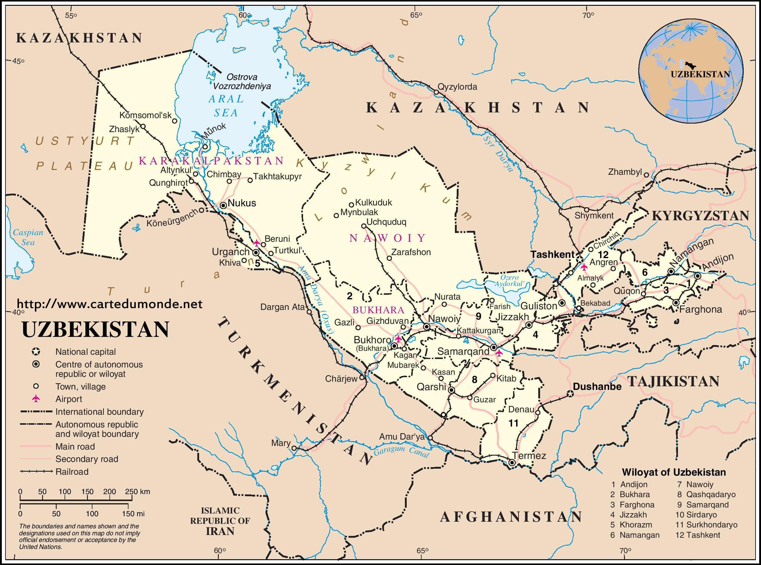 Usbekistan Karte.Karte Vergrößern Usbekistan Auf Weltkarte
