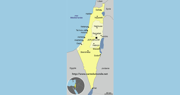 Grande carte Autorité Palestinienne