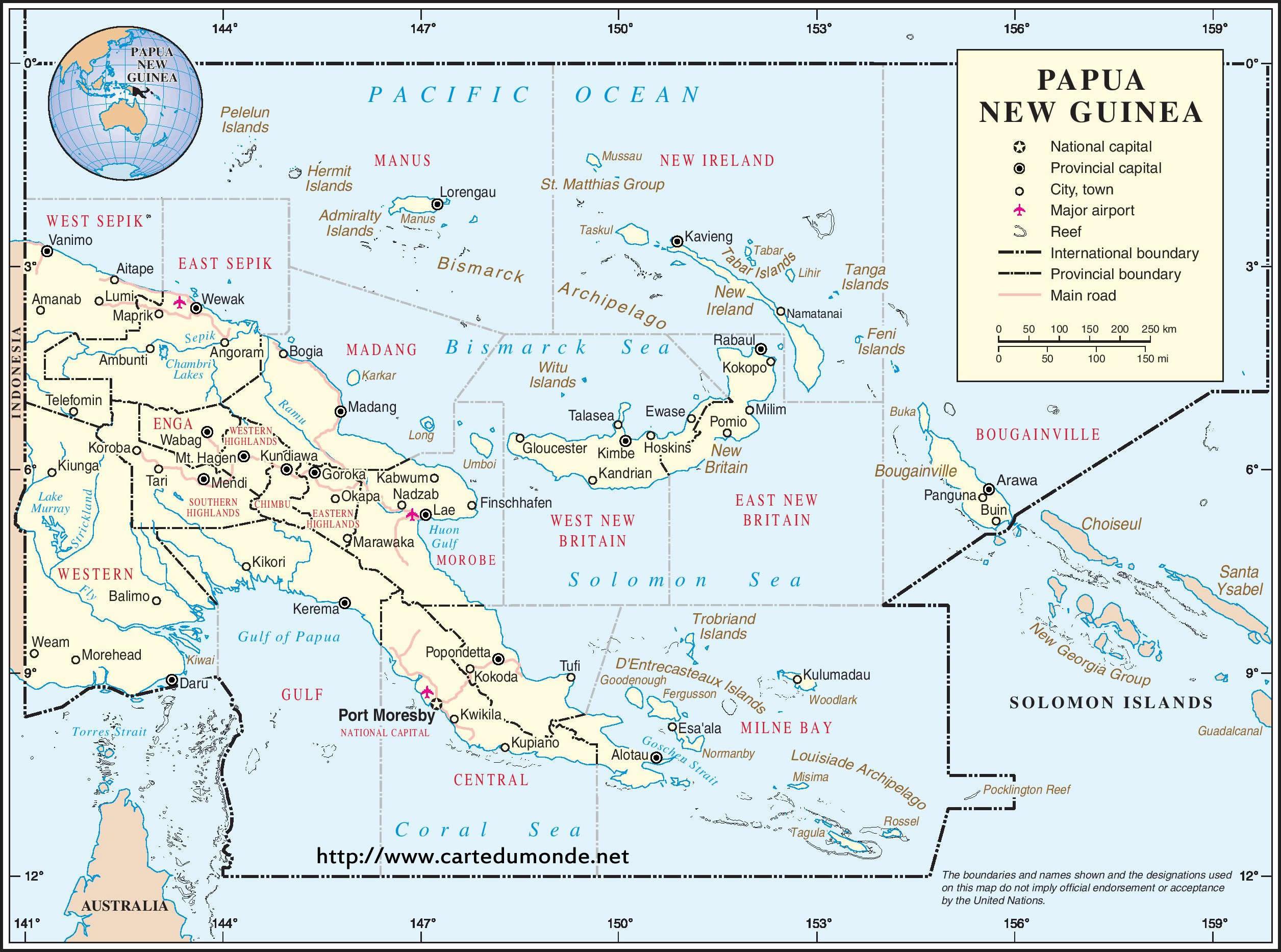 Agrandar El Mapa Papua Nueva Guinea En El Mapa Mundial