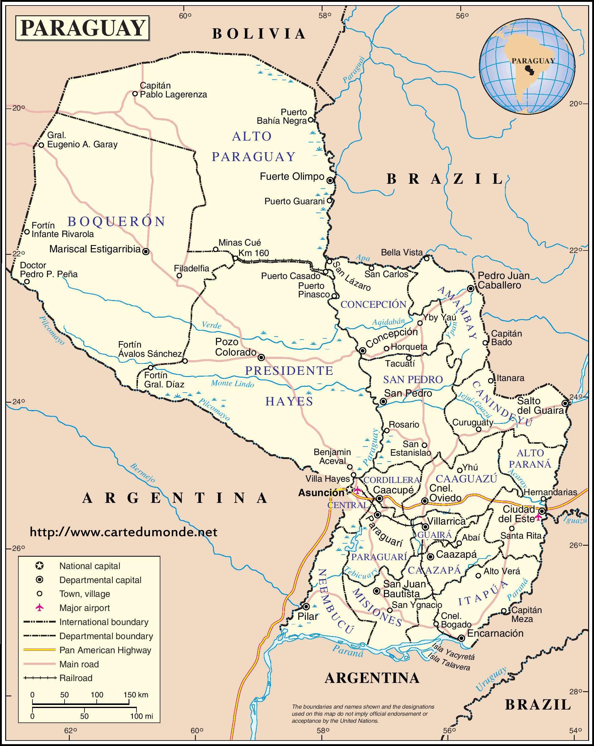 mapa del paraguay ile ilgili görsel sonucu