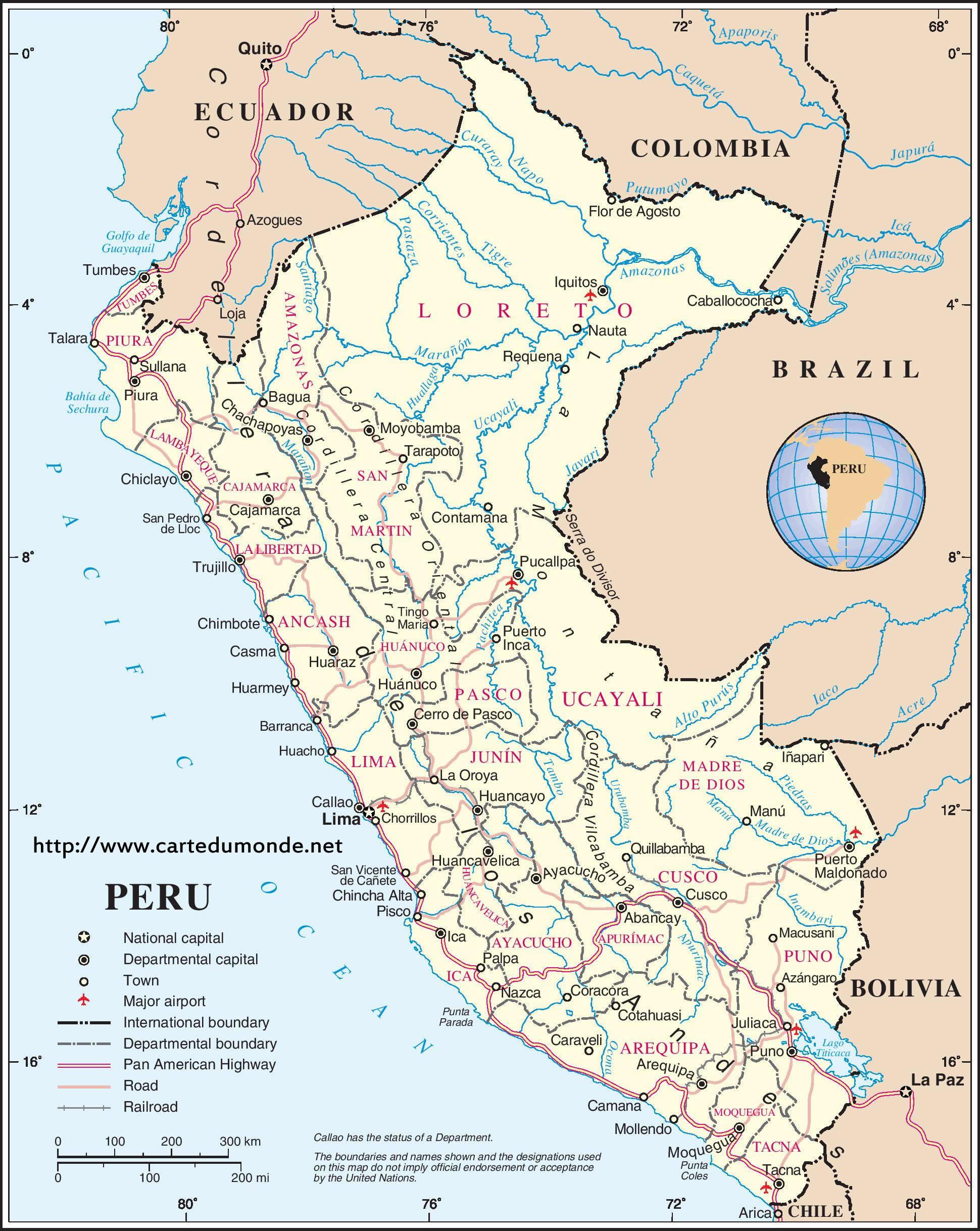 Peru Karte.Map Peru Country Map Peru