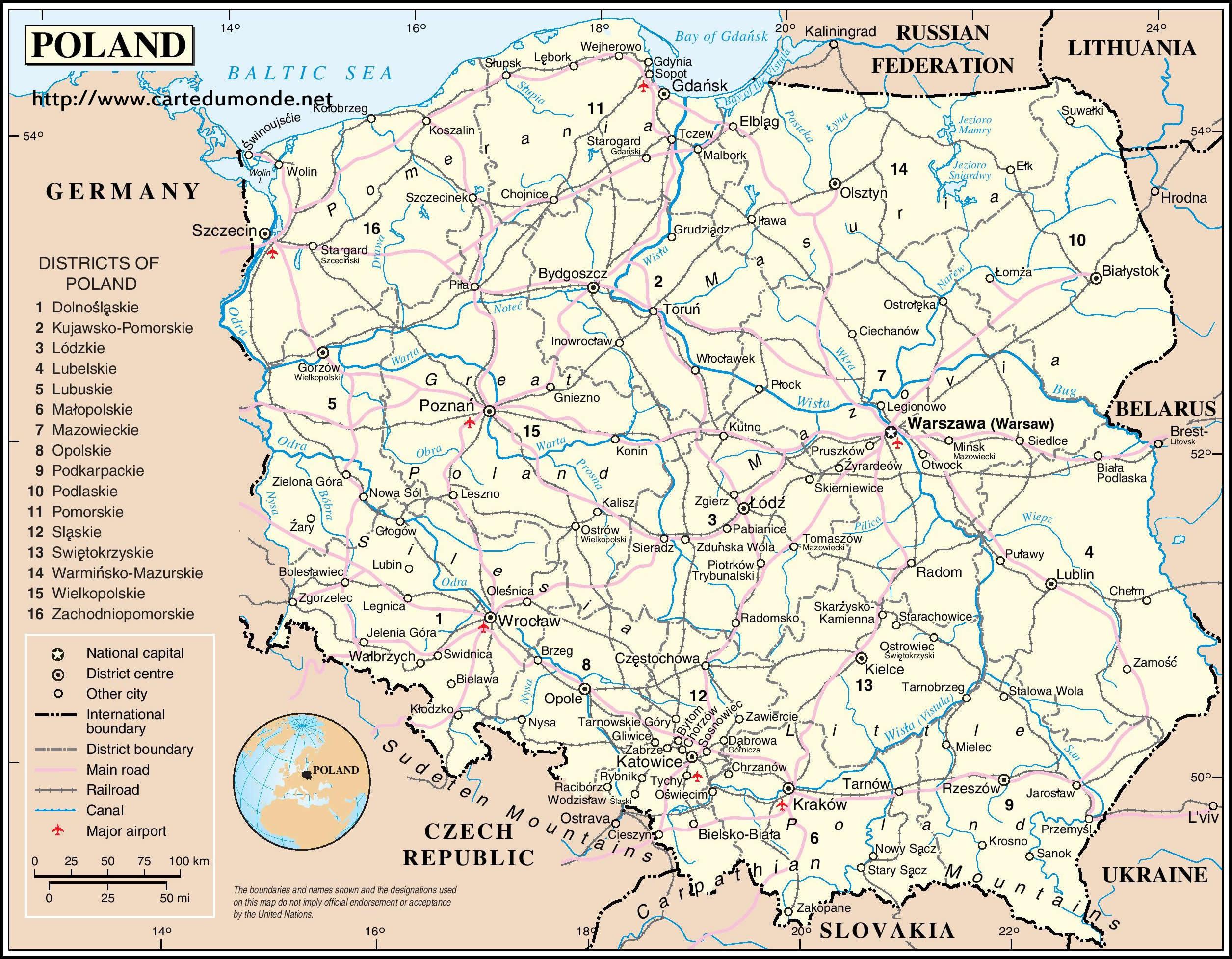 Carte Du Monde Pologne.Grande Carte Pologne Sur Carte Du Monde