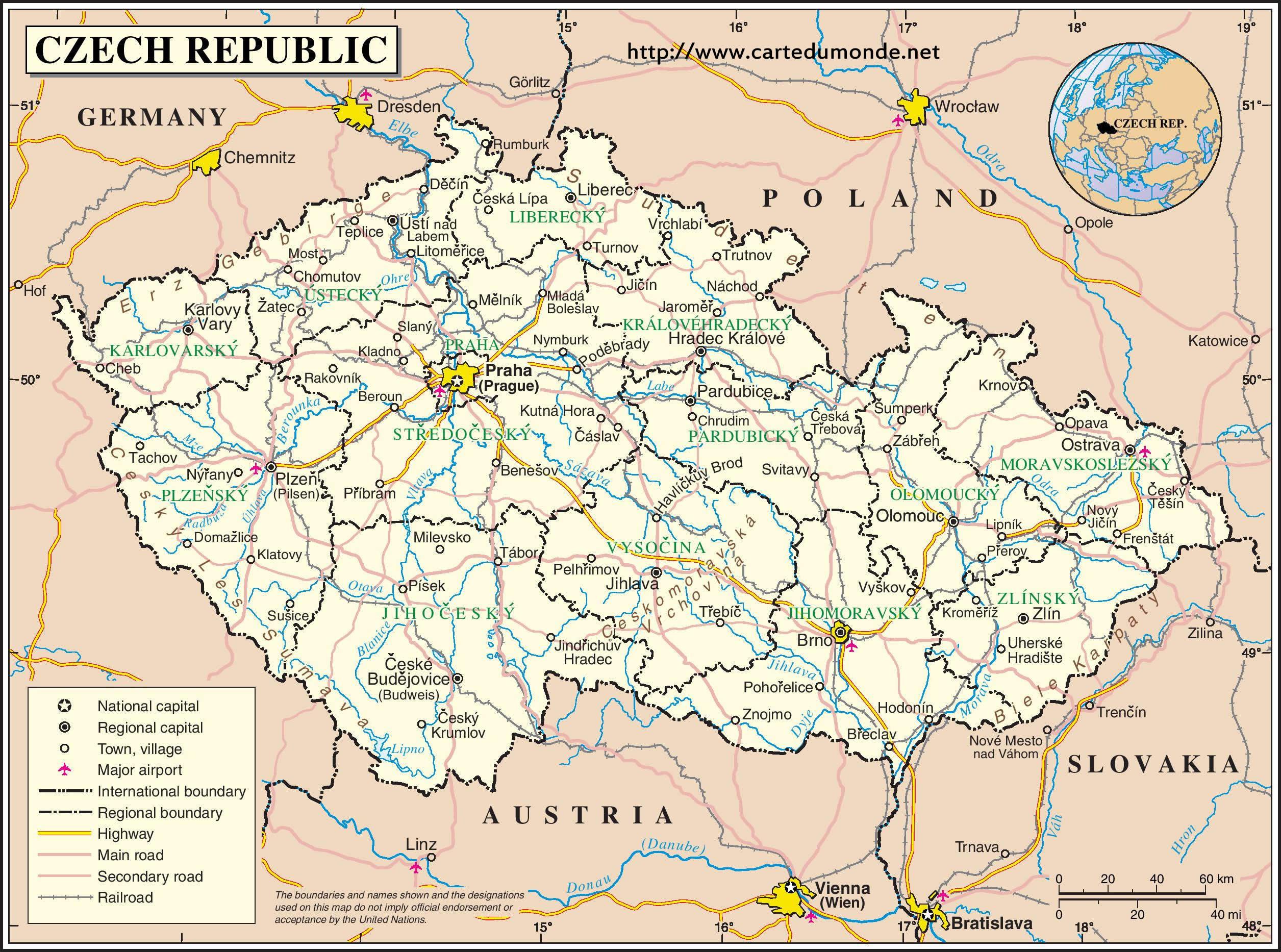 Duży Mapa Czechy Na Mapie świata