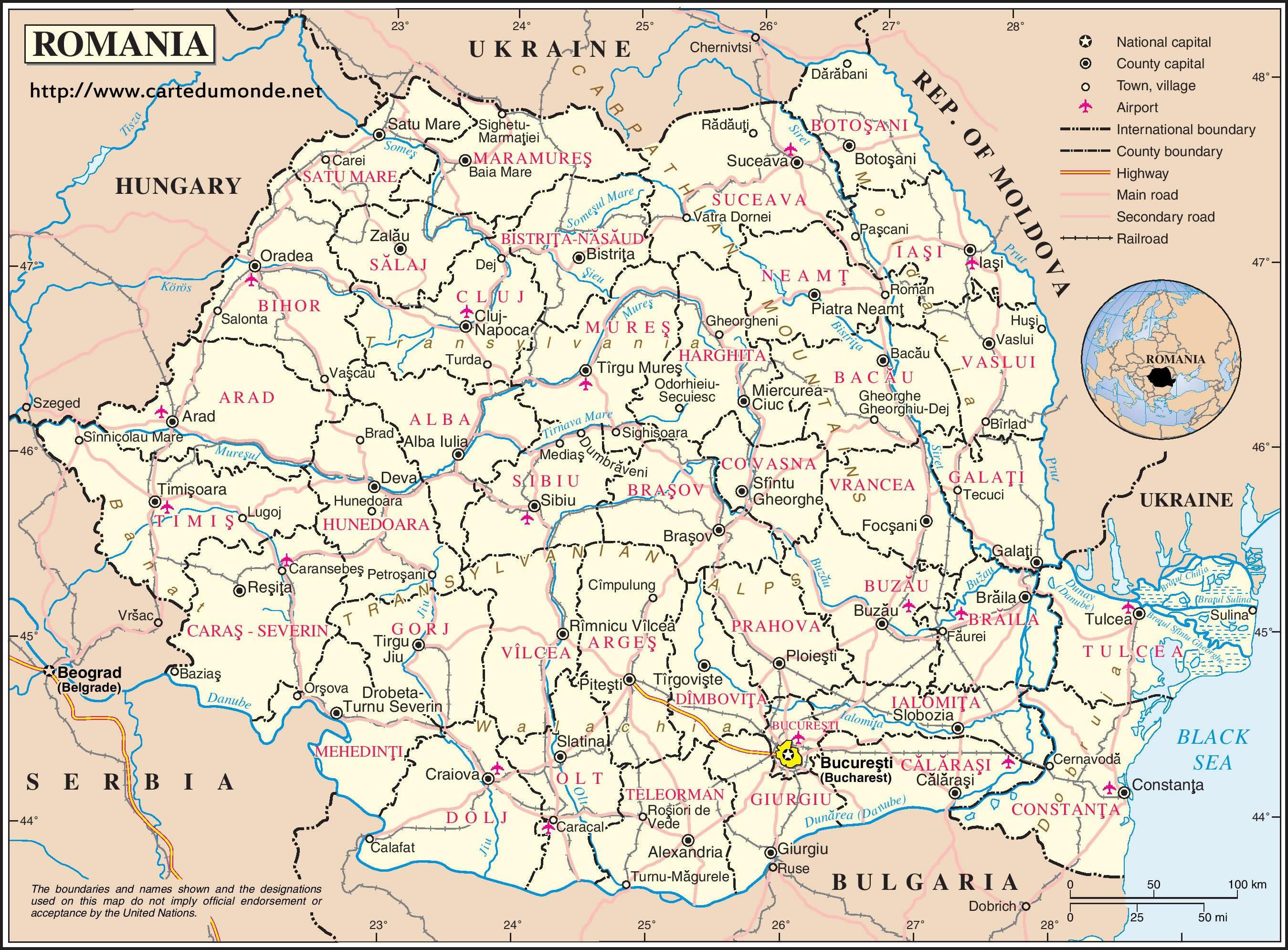 Grande carte Roumanie