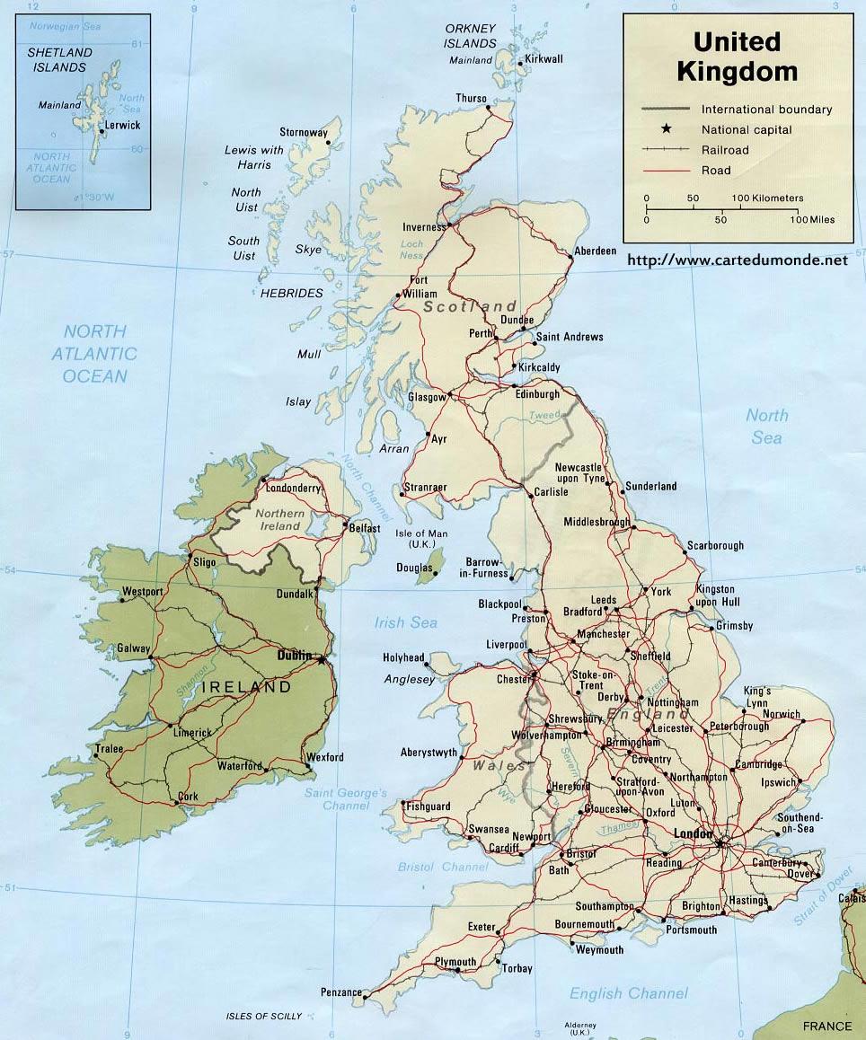 Carte Royaume Uni A Imprimer.Grande Carte Royaume Uni Sur Carte Du Monde