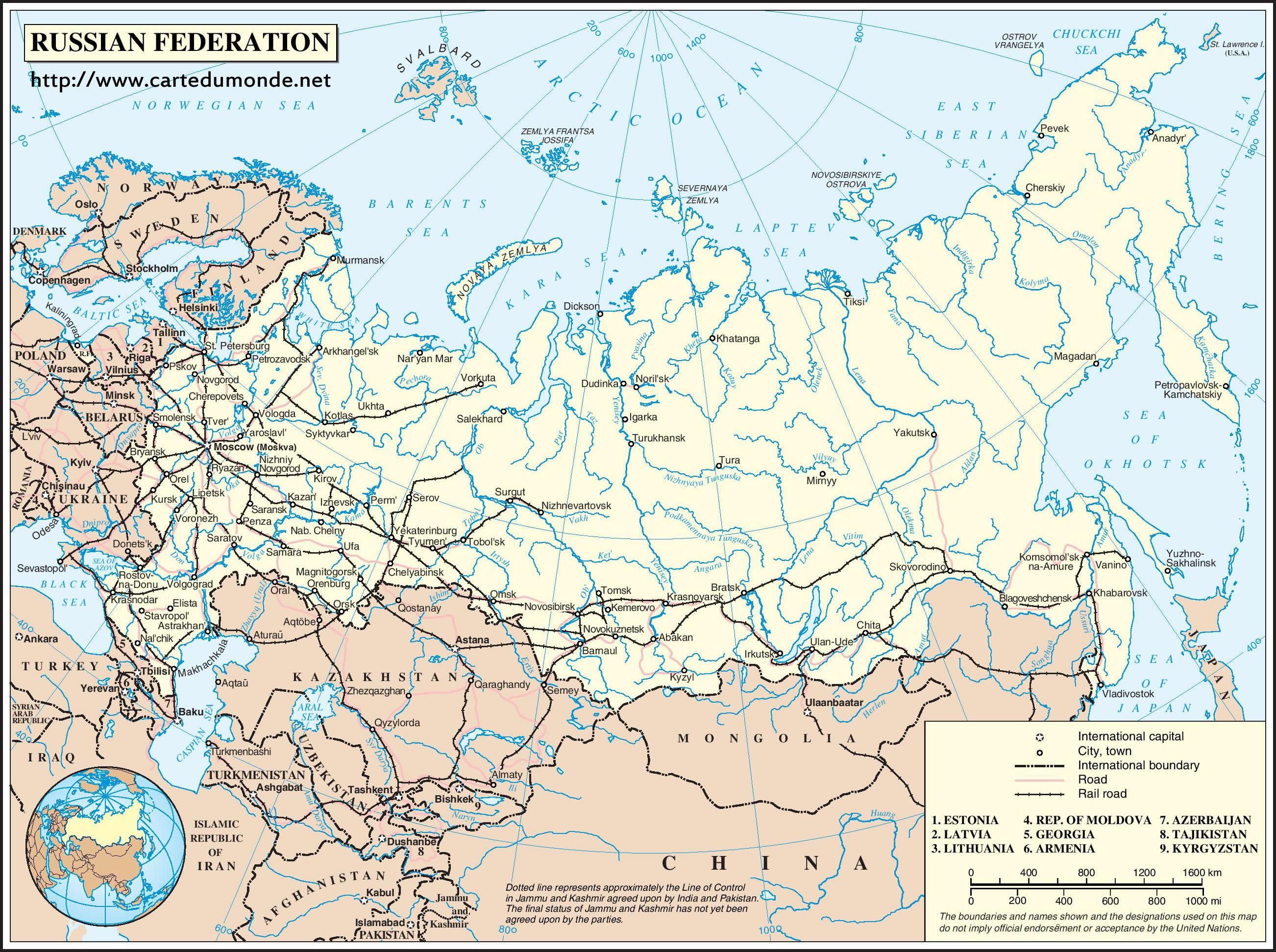 Duzy Mapa Rosja Na Mapie Swiata
