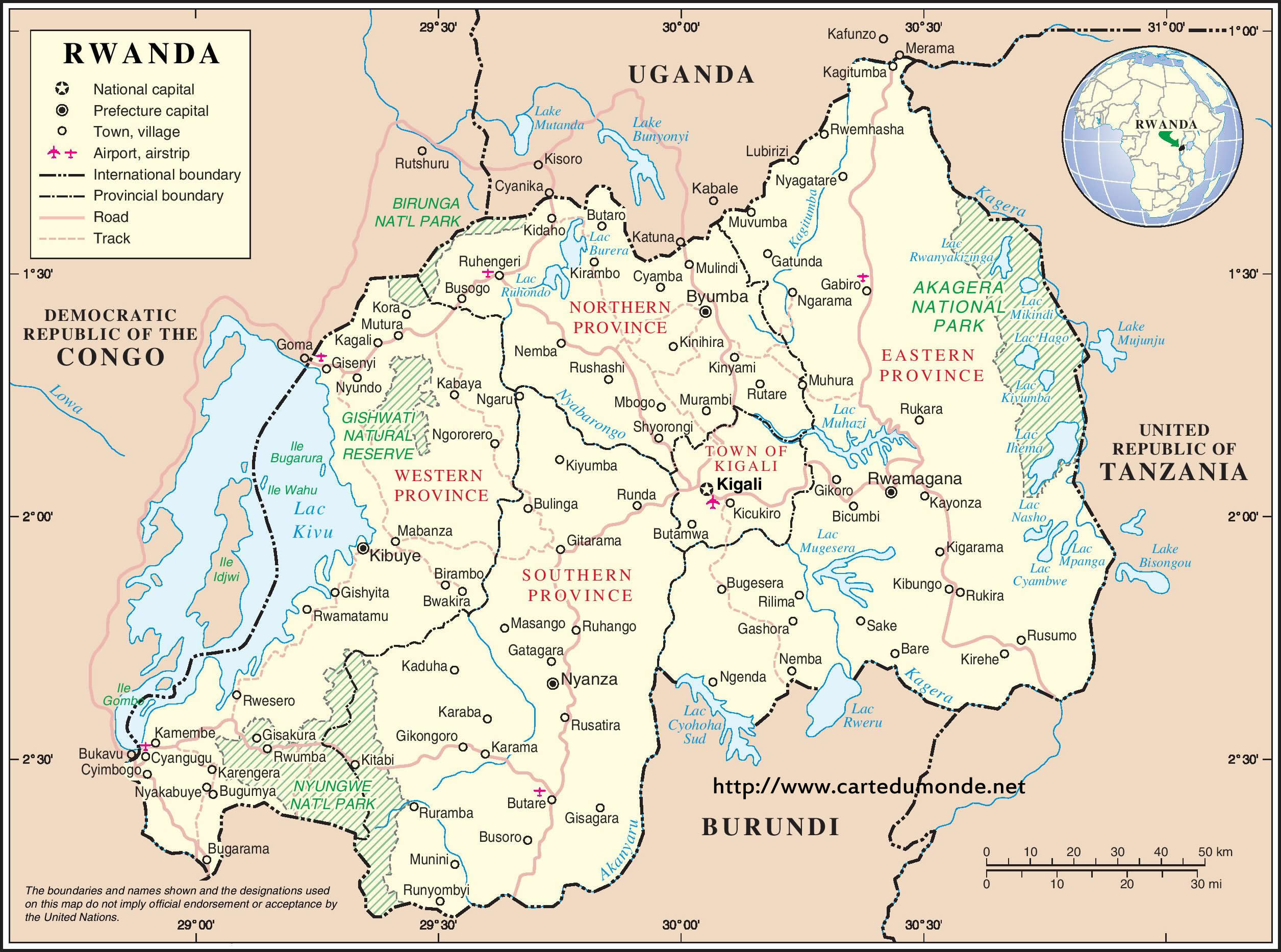 Image of: Larger Map Rwanda On World Map