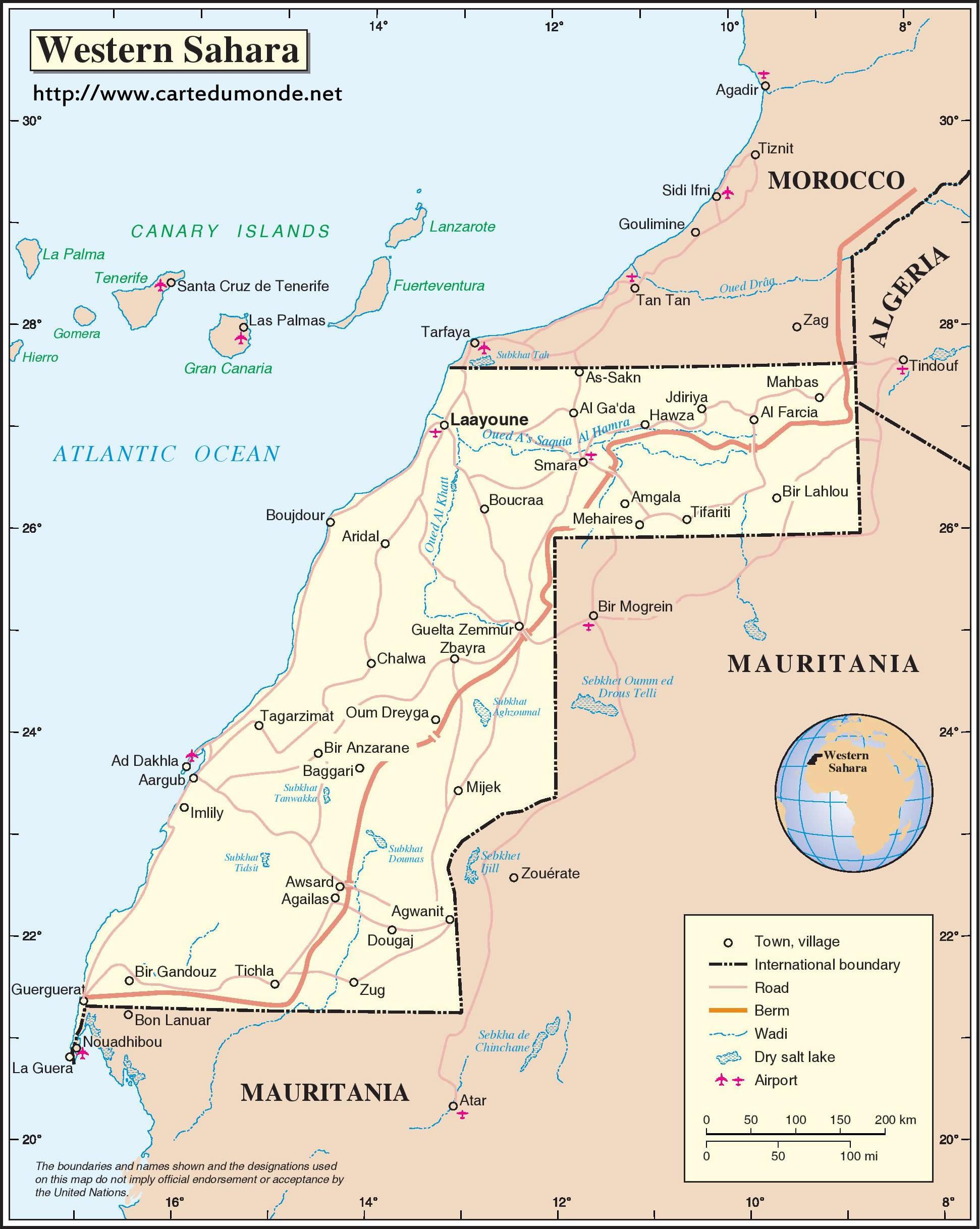 Grande carte Sahara occidental