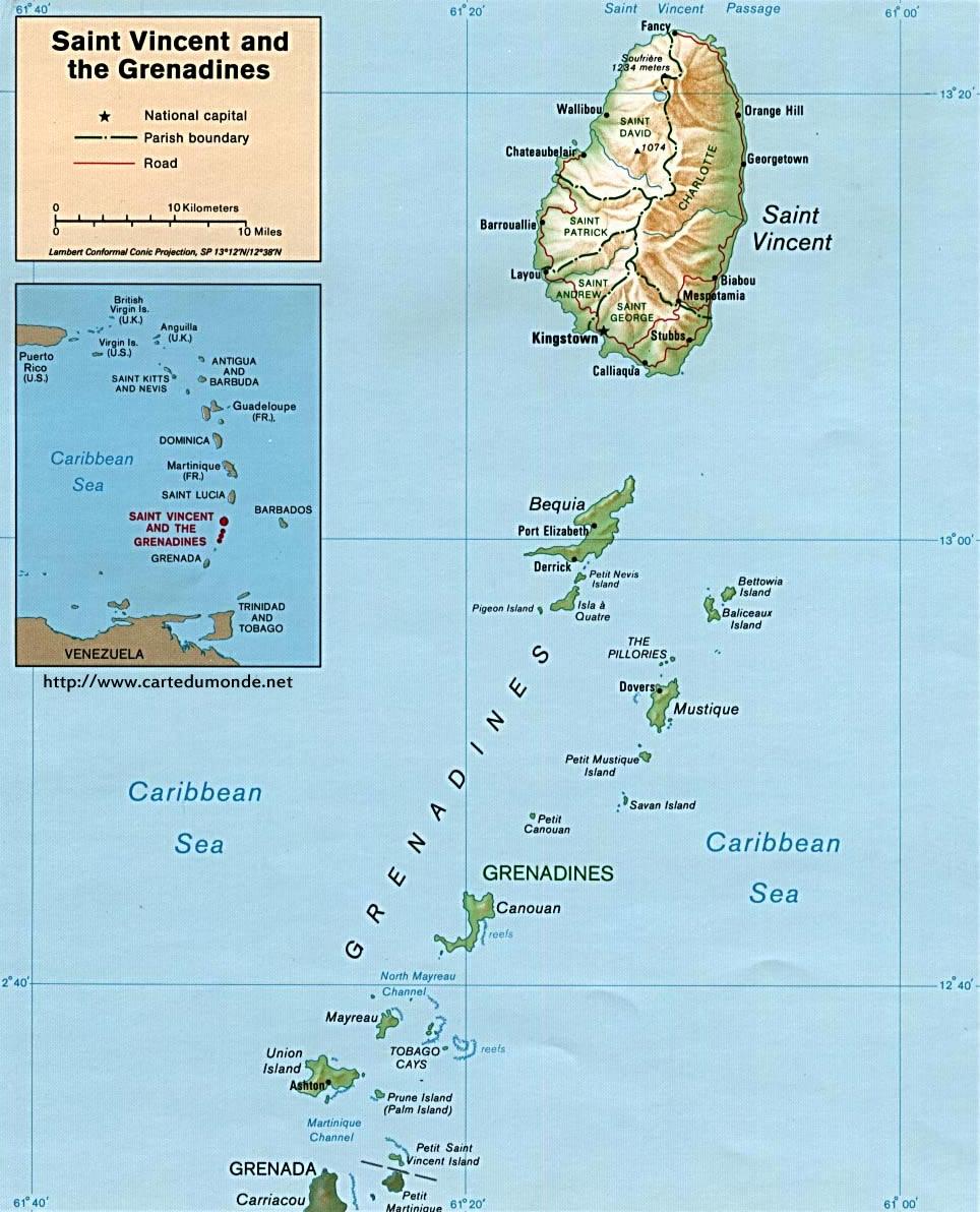 Mapa San Vicente y las Granadinas Mapa de Estados San Vicente y