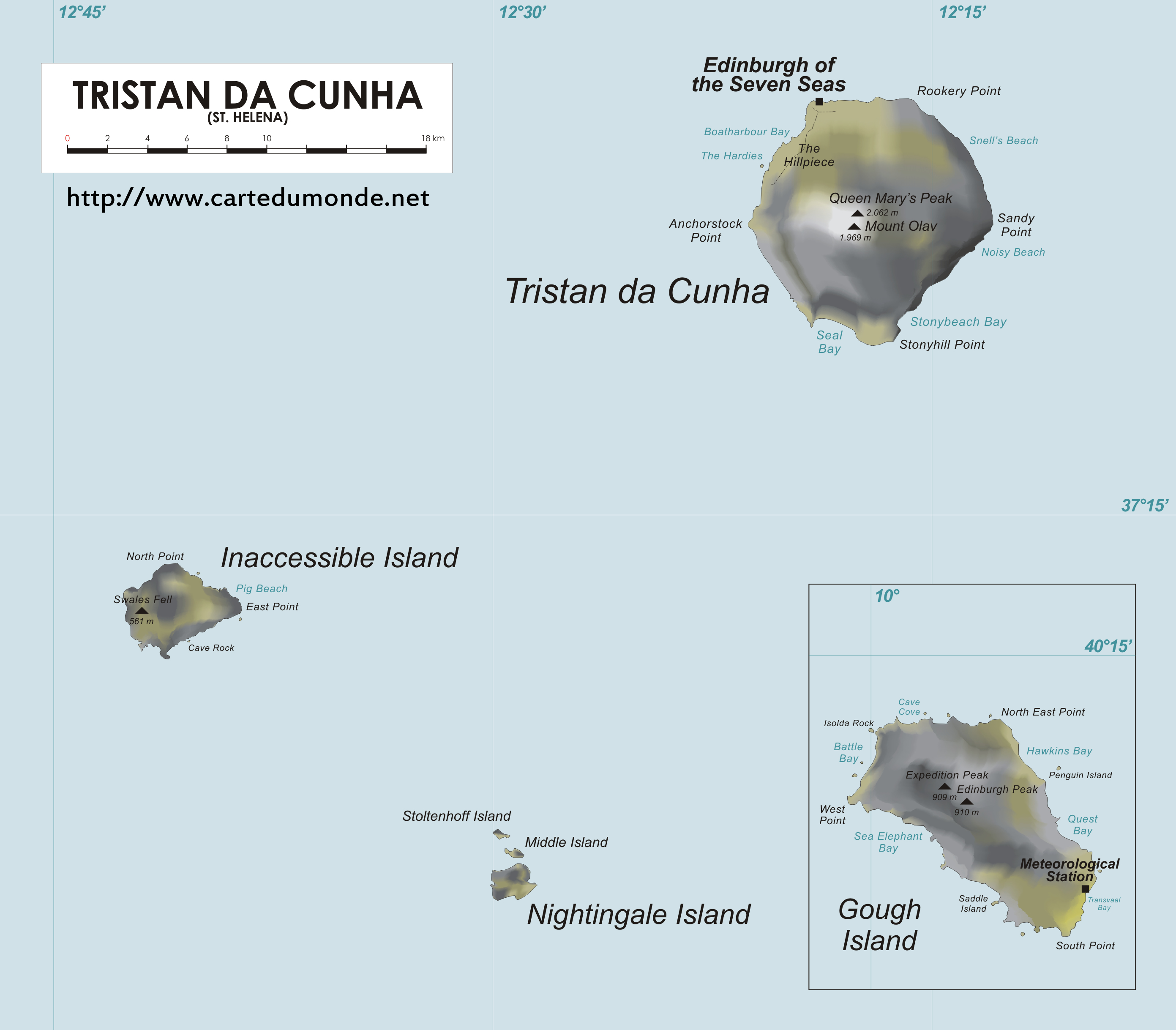 Grande carte Sainte-Hélène  Ascension et Tristan da Cunha