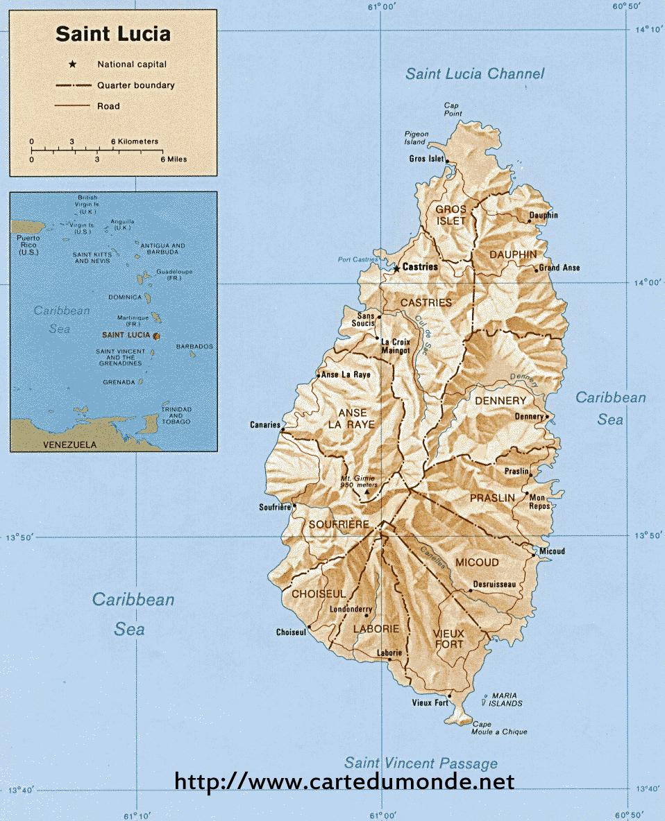 Grande carte Sainte-Lucie