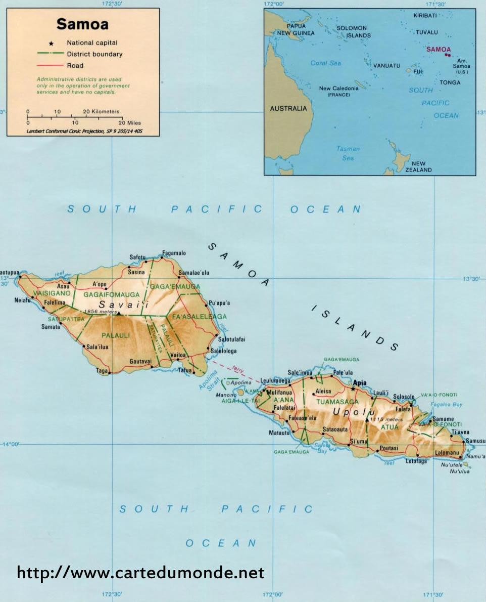 Duzy Mapa Samoa Na Mapie Swiata
