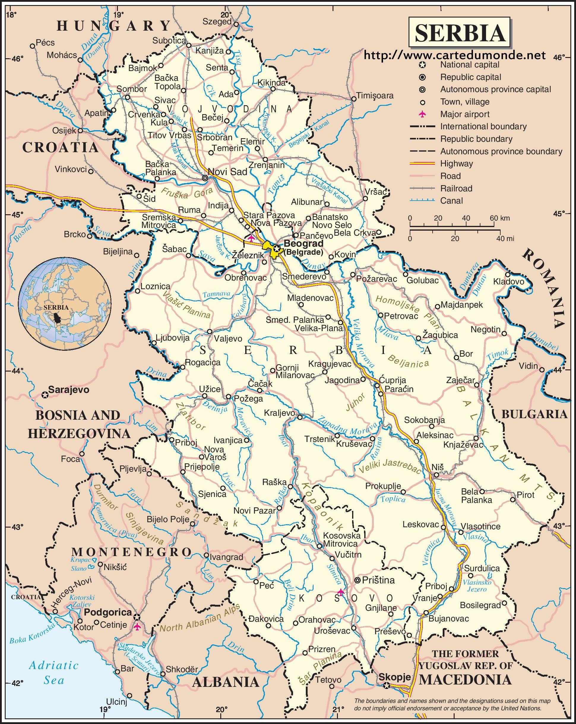 Grande carte Serbie