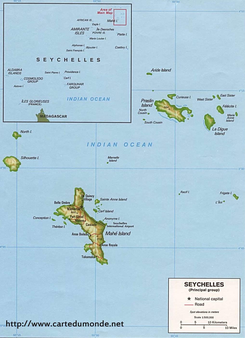 Groot Kaart Seychellen