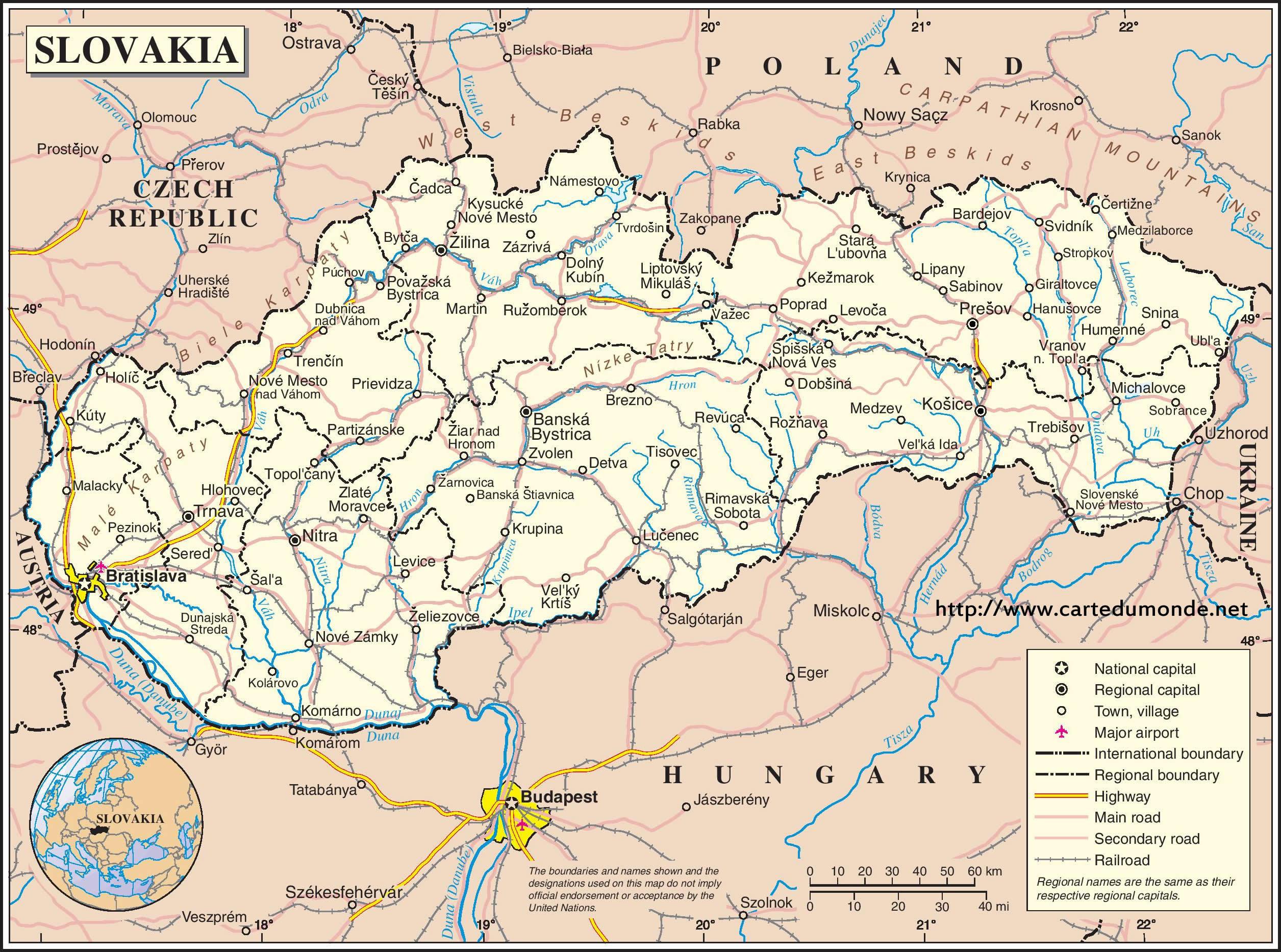 Map Slovakia Country Map Slovakia