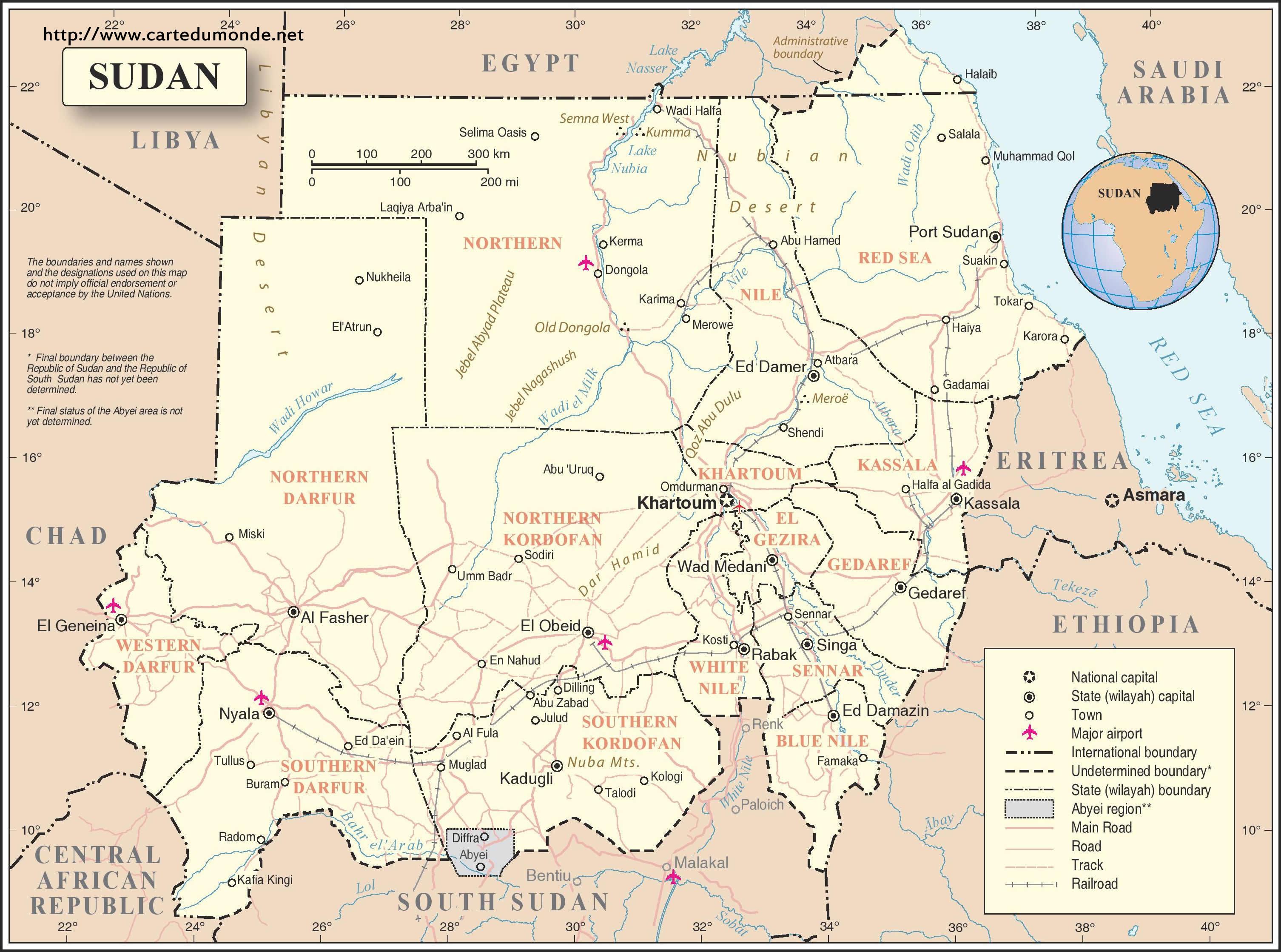 Map Sudan, Country Map Sudan