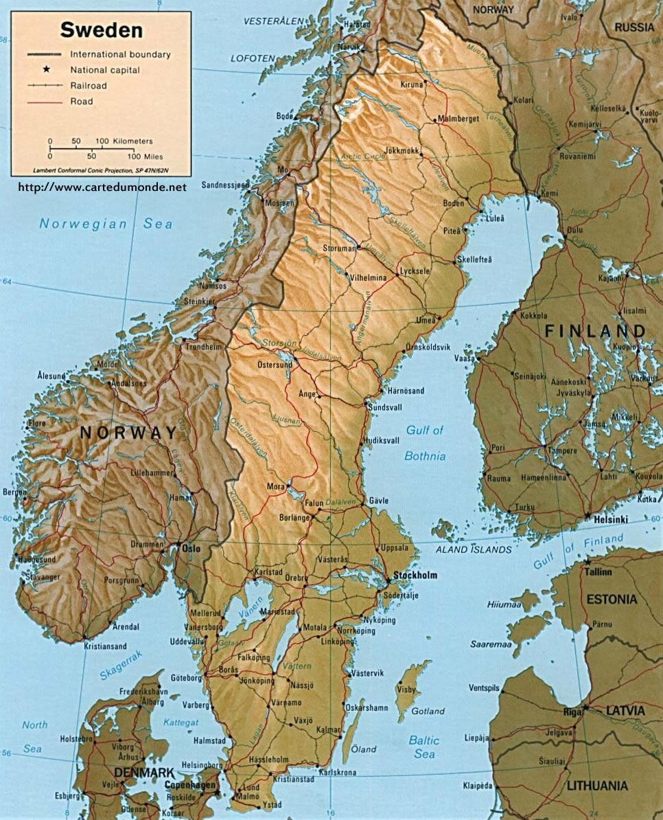 Grande carte Suède