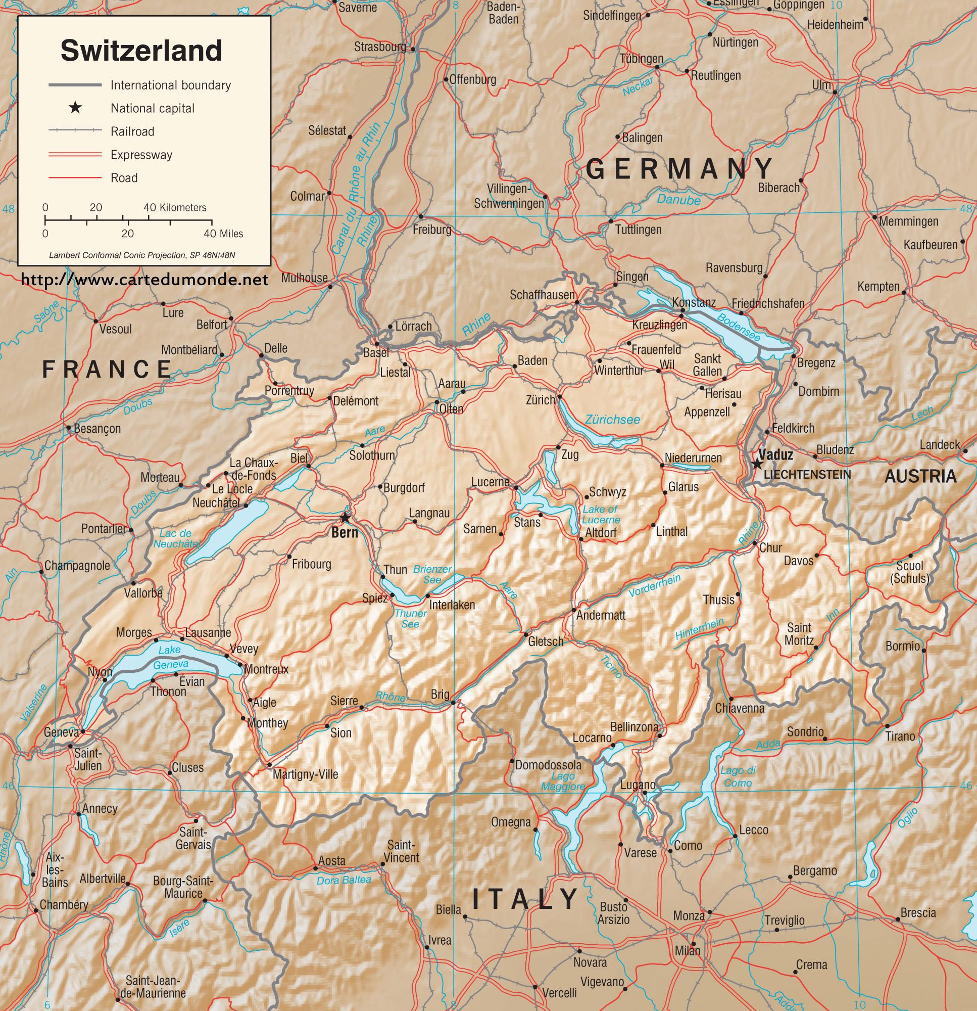 Duzy Mapa Szwajcaria Na Mapie Swiata