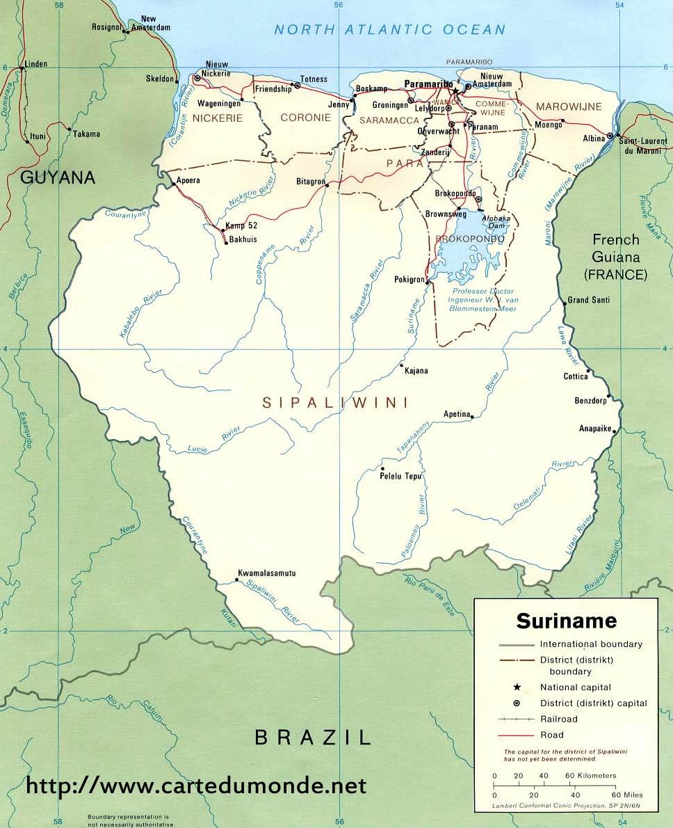 Grande carte Suriname
